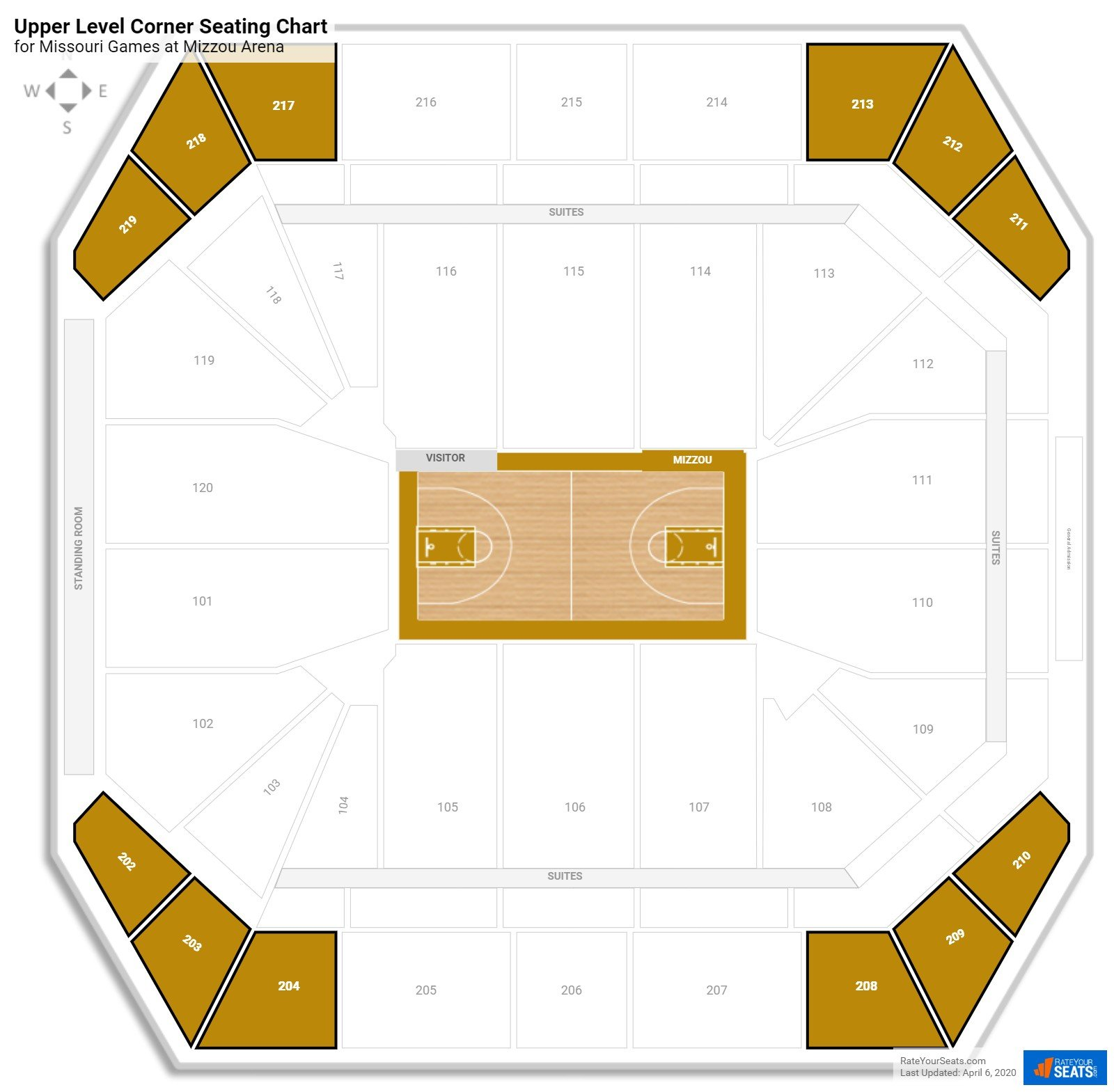 Mizzou Arena Upper Level Corner seating chart