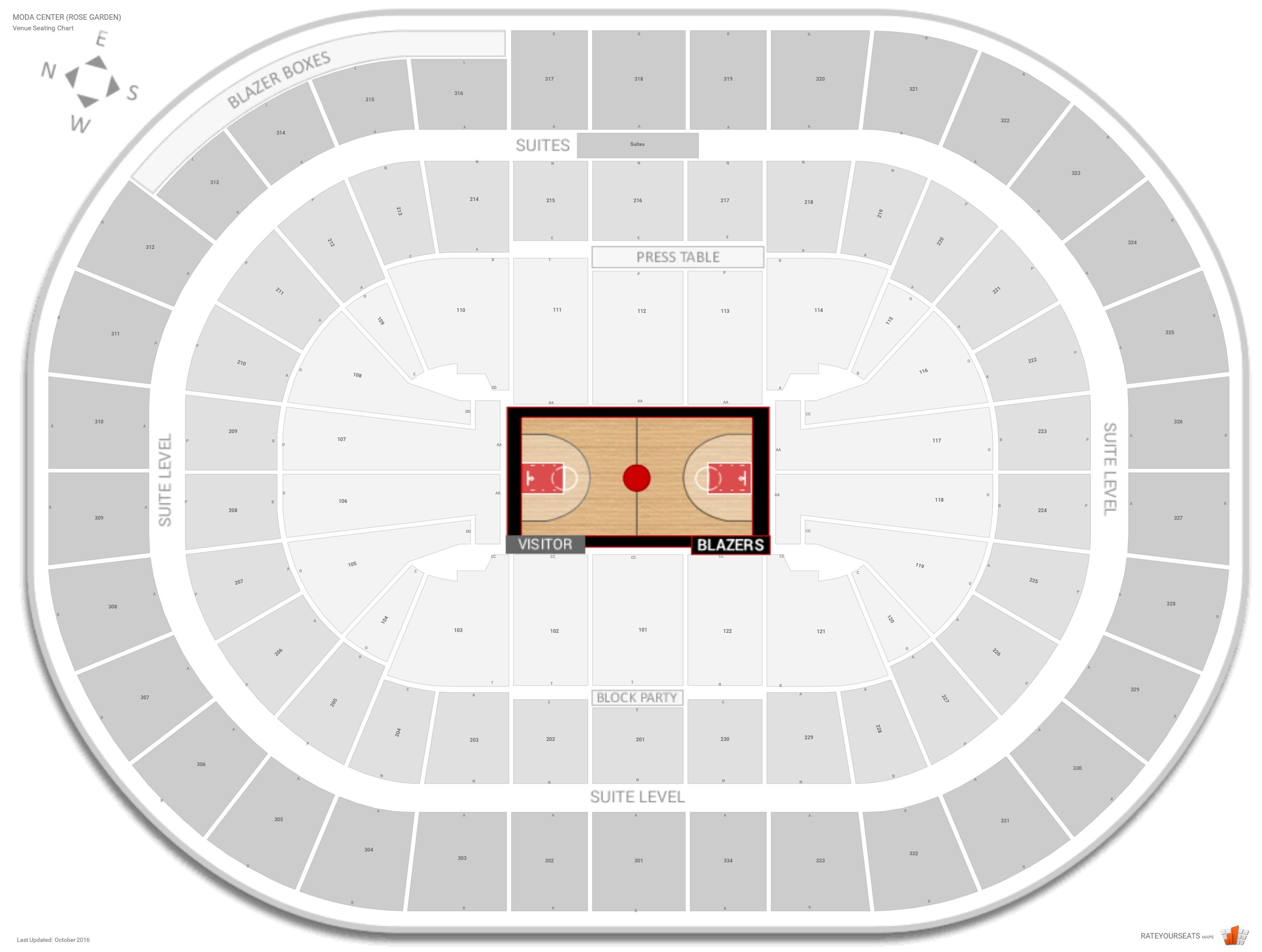 Seating Chart With Rows Moda Center Rose Garden Row Numbers