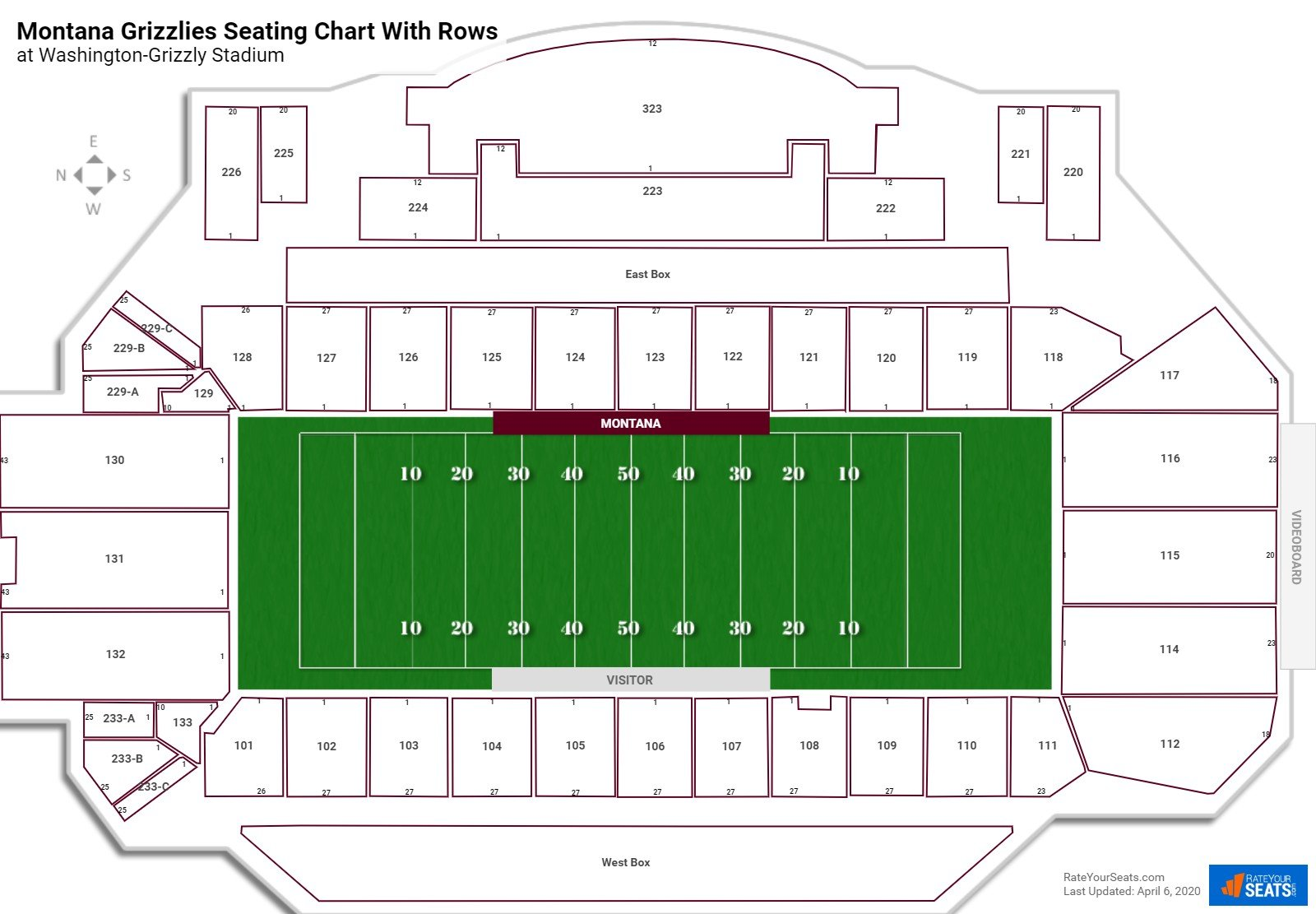 Washington-Grizzly Stadium seating chart with rows