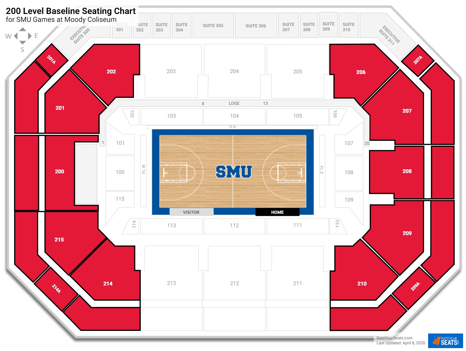 Moody Coliseum 200 Level Baseline seating chart