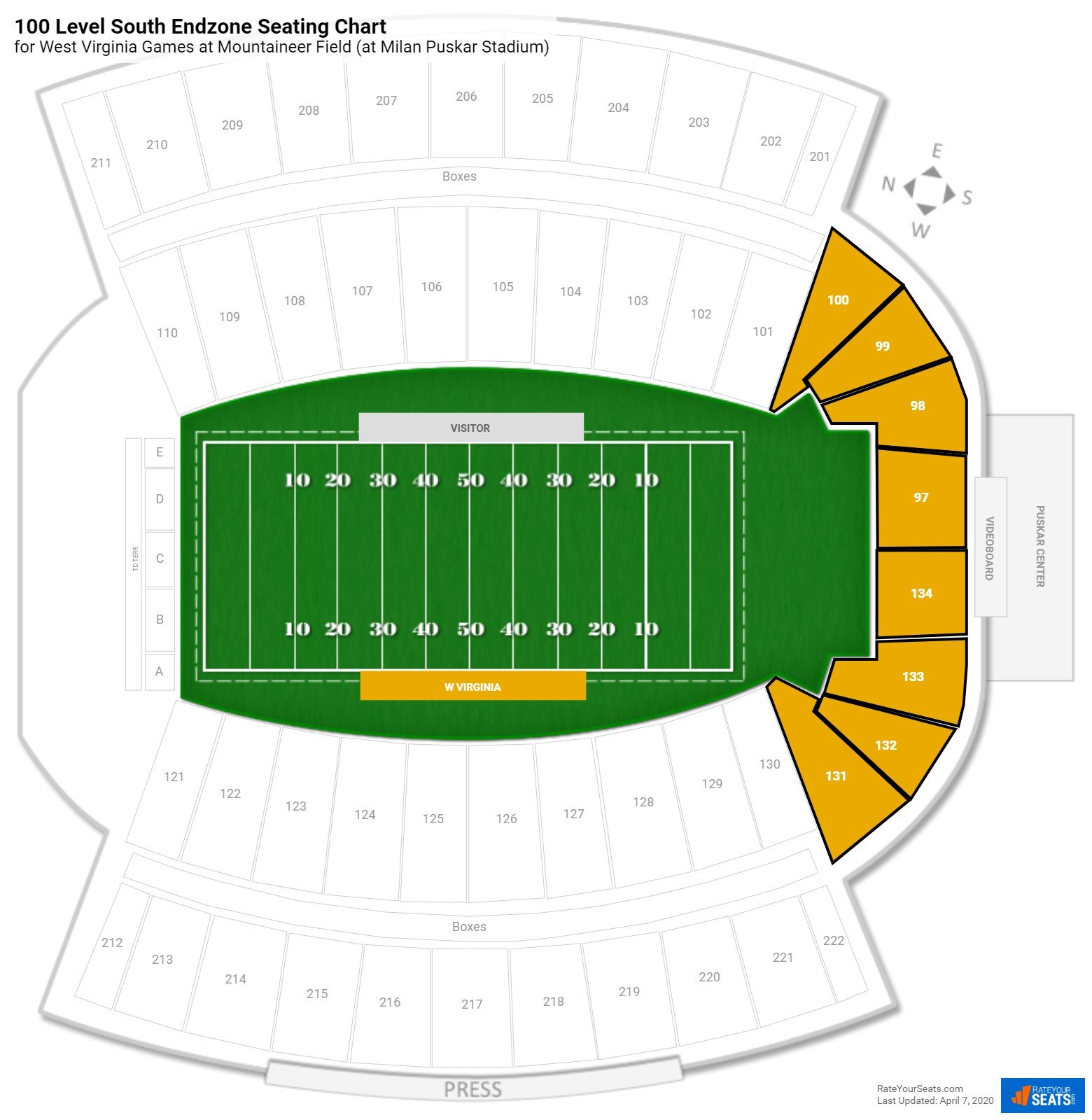 Mountaineer Field 100 Level South Endzone seating chart