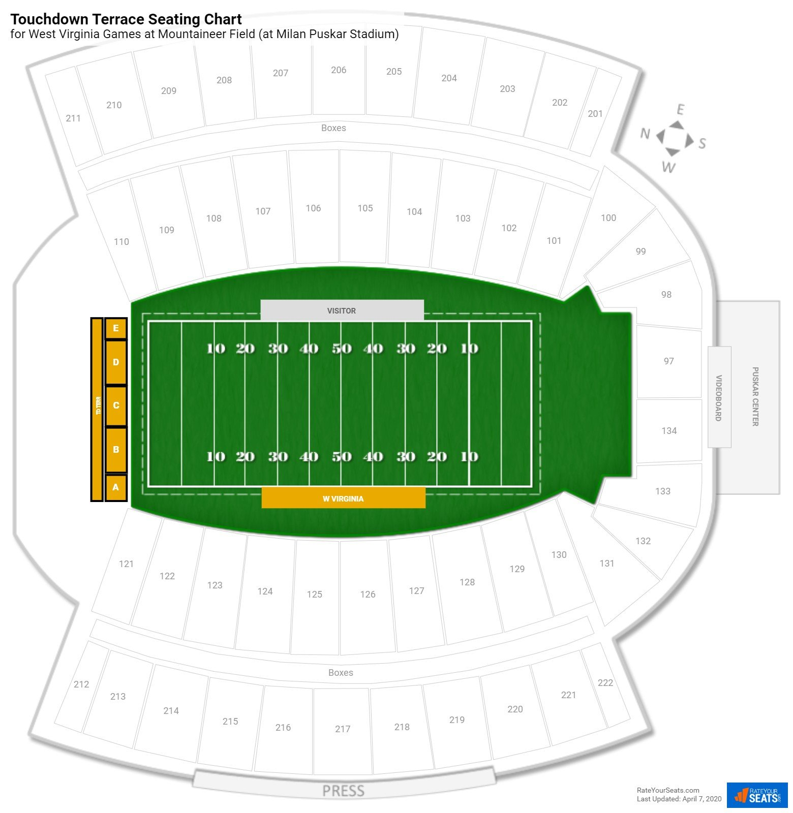 Mountaineer Field Touchdown Terrace seating chart