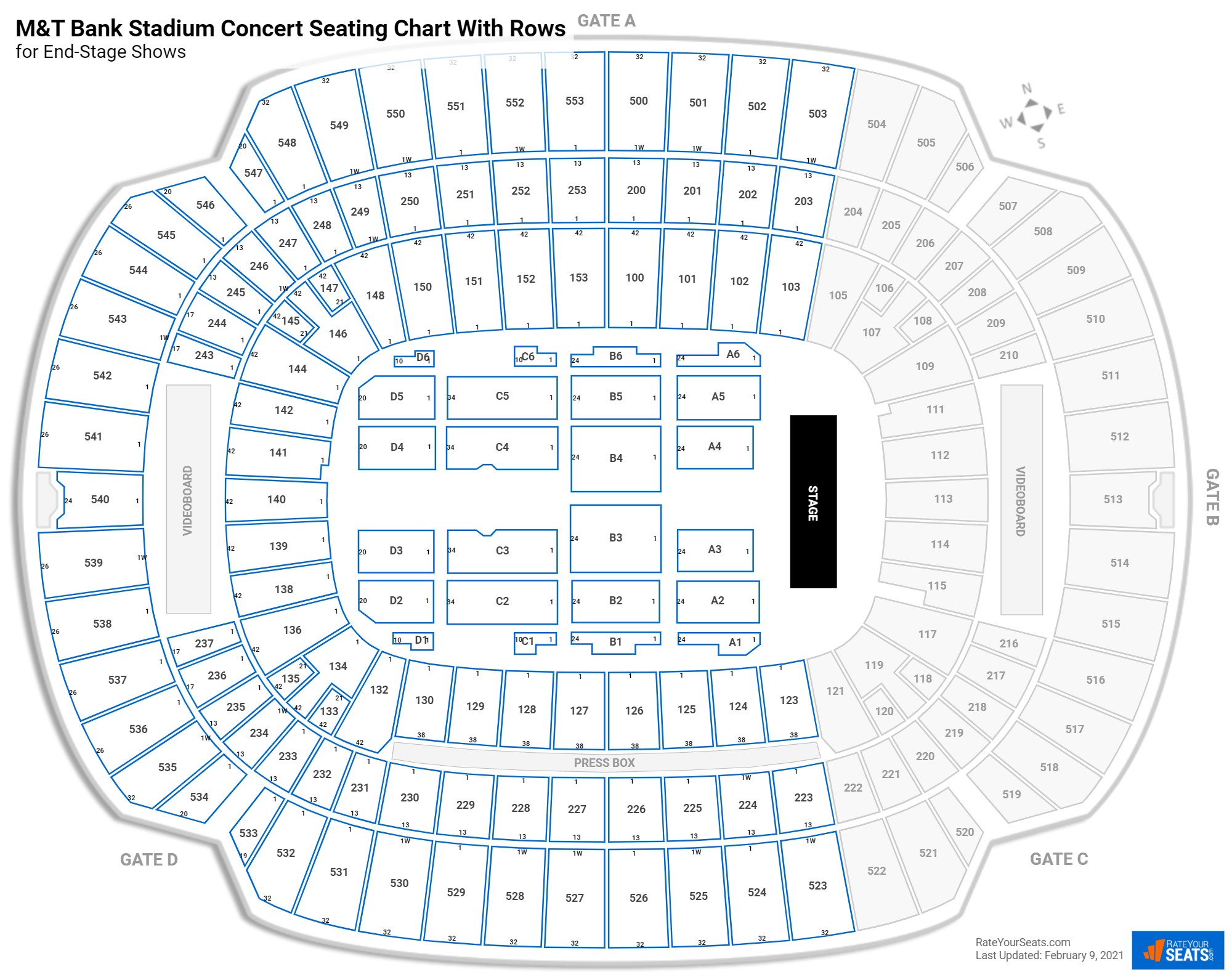 M&T Bank Stadium seating chart with rows concert