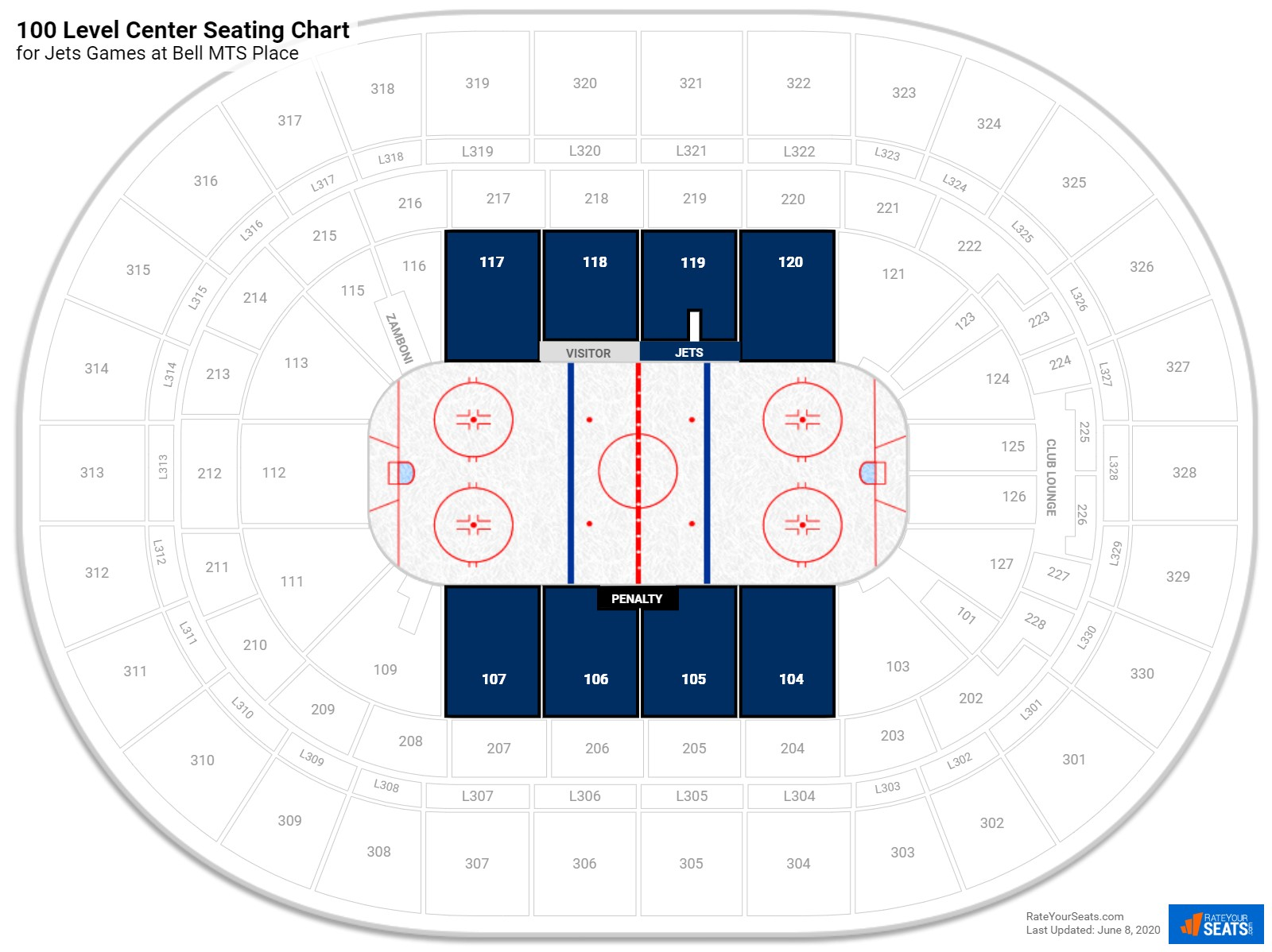 MTS Centre 100 Level Center seating chart