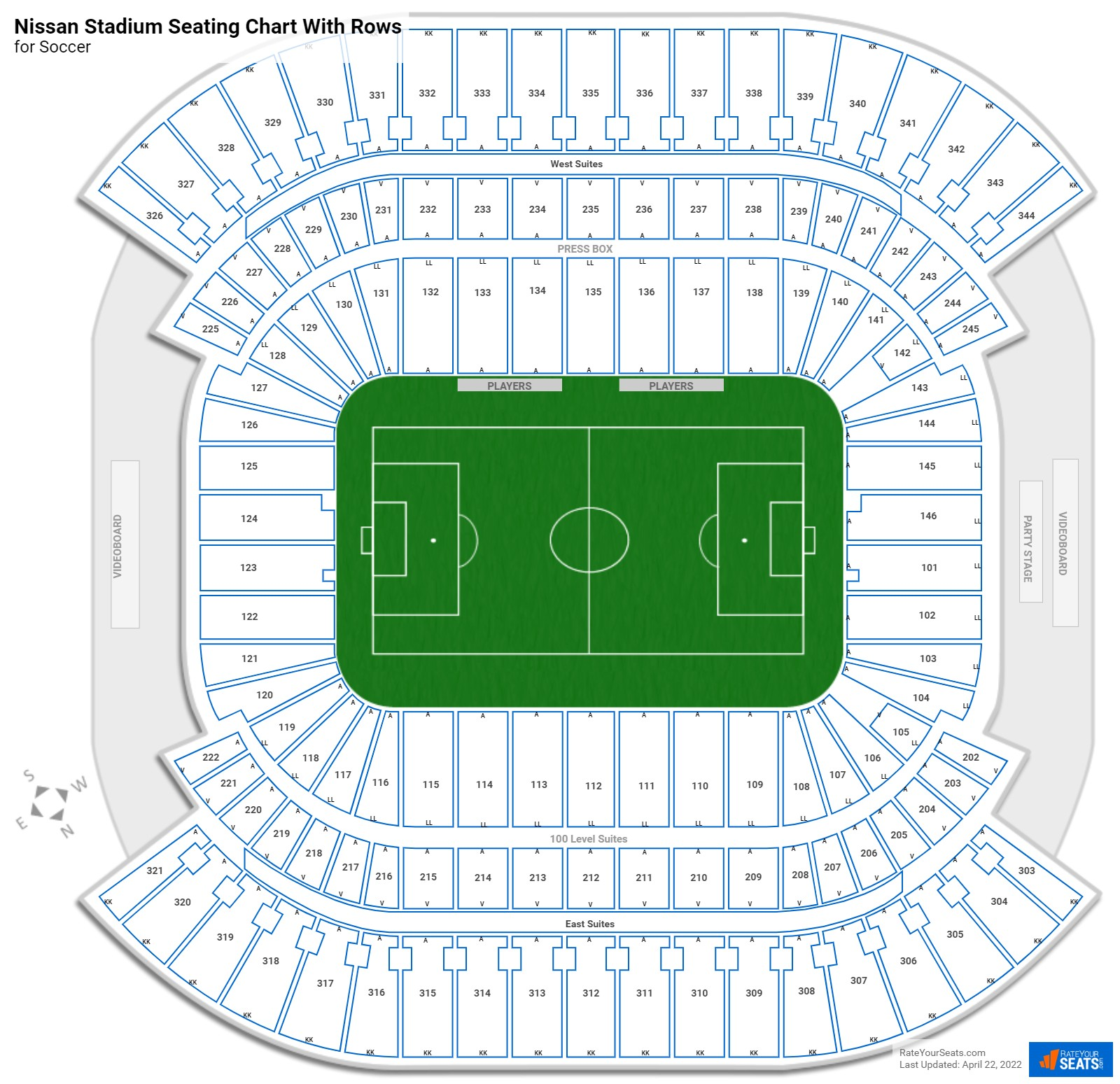 Nissan Stadium seating chart with rows soccer