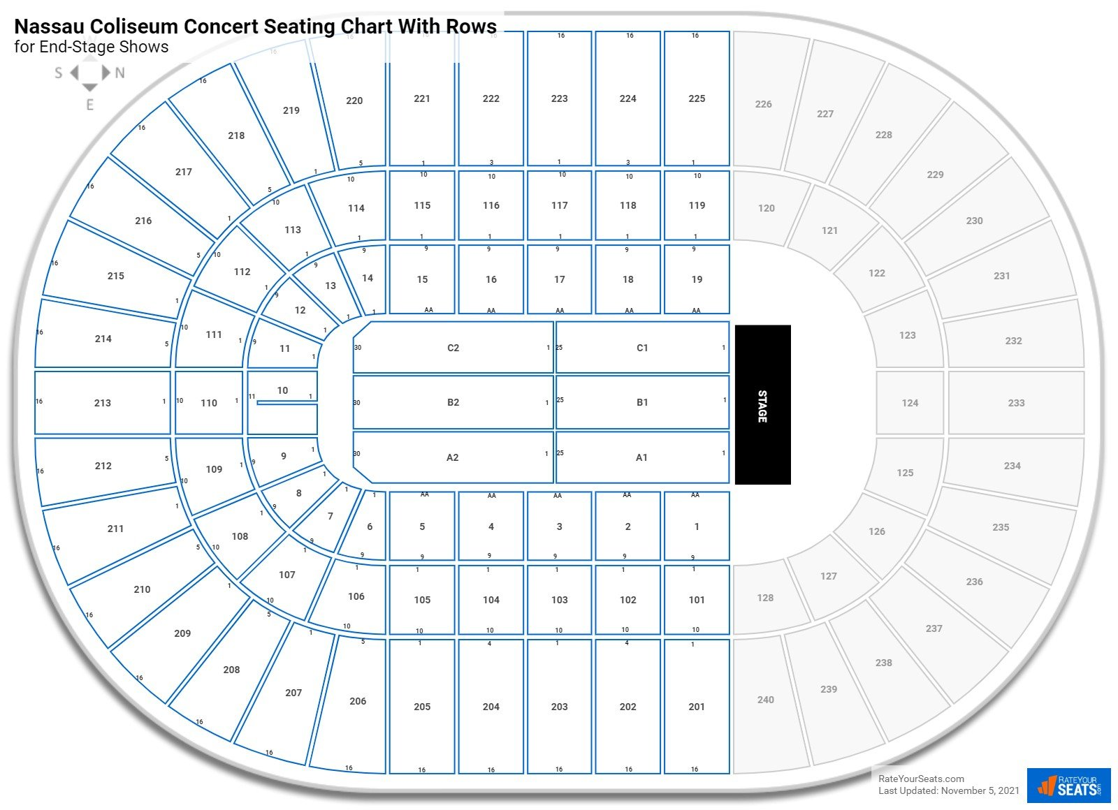 Nassau Coliseum seating chart with rows concert