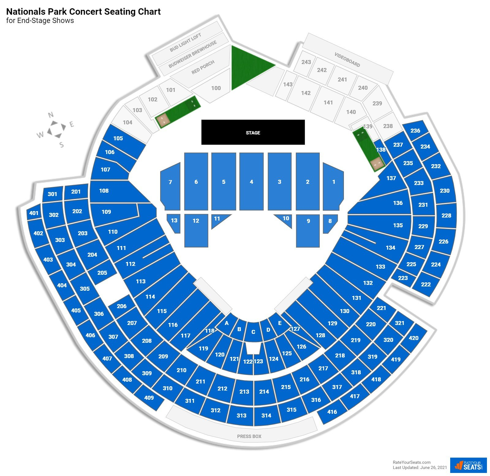Nationals Park Seating Chart for Concerts