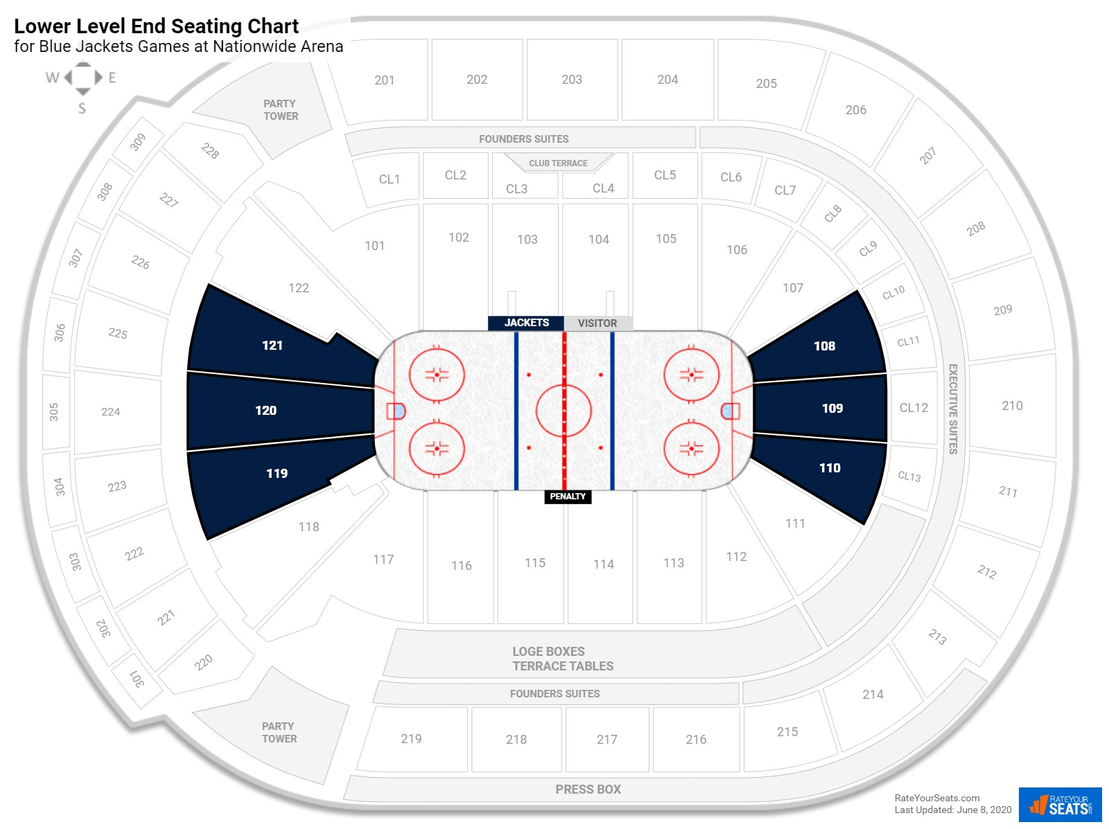 Nationwide Arena Lower Level Behind the Net seating chart