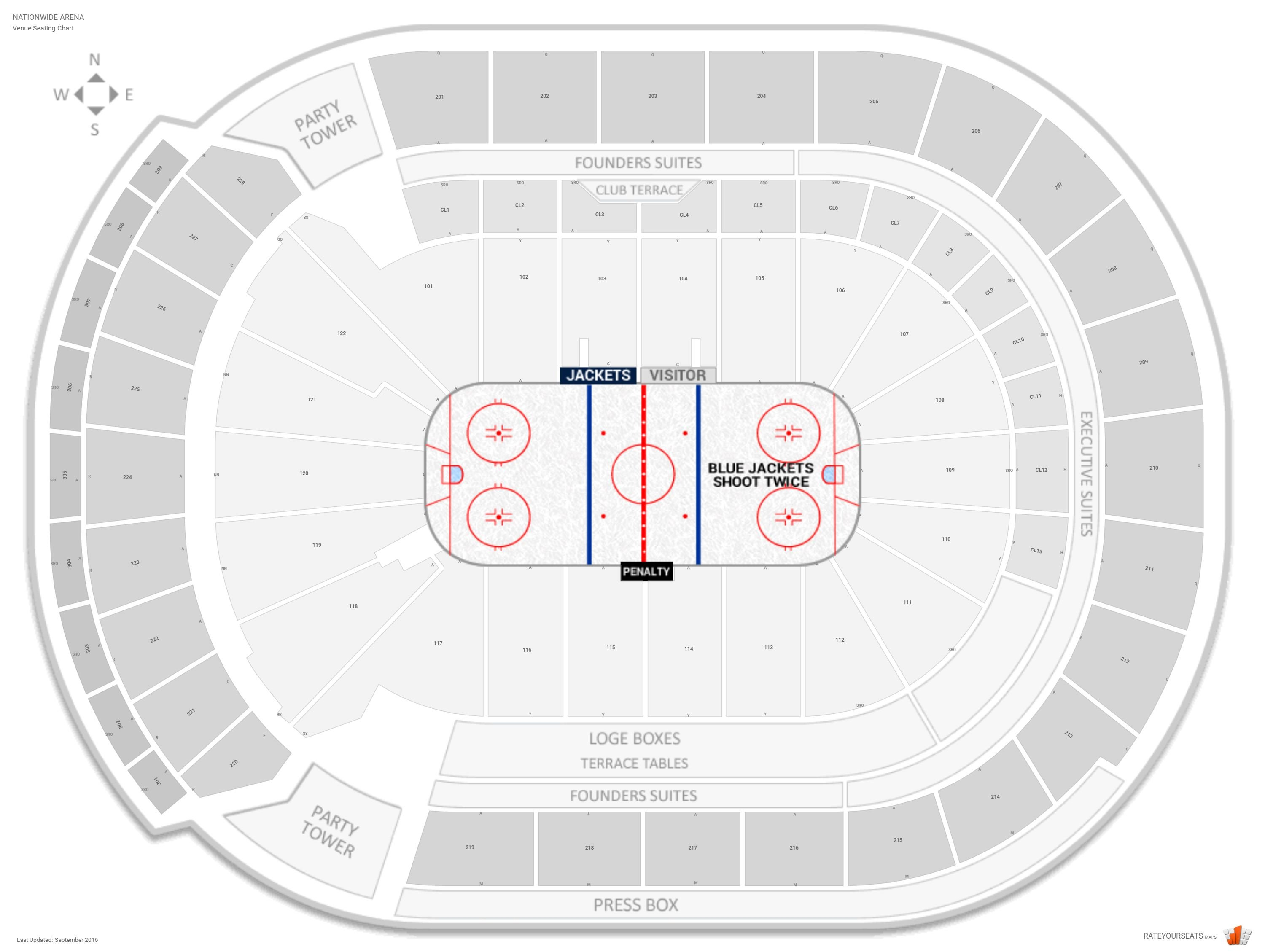 Nationwide Arena Seating Chart with Row Numbers