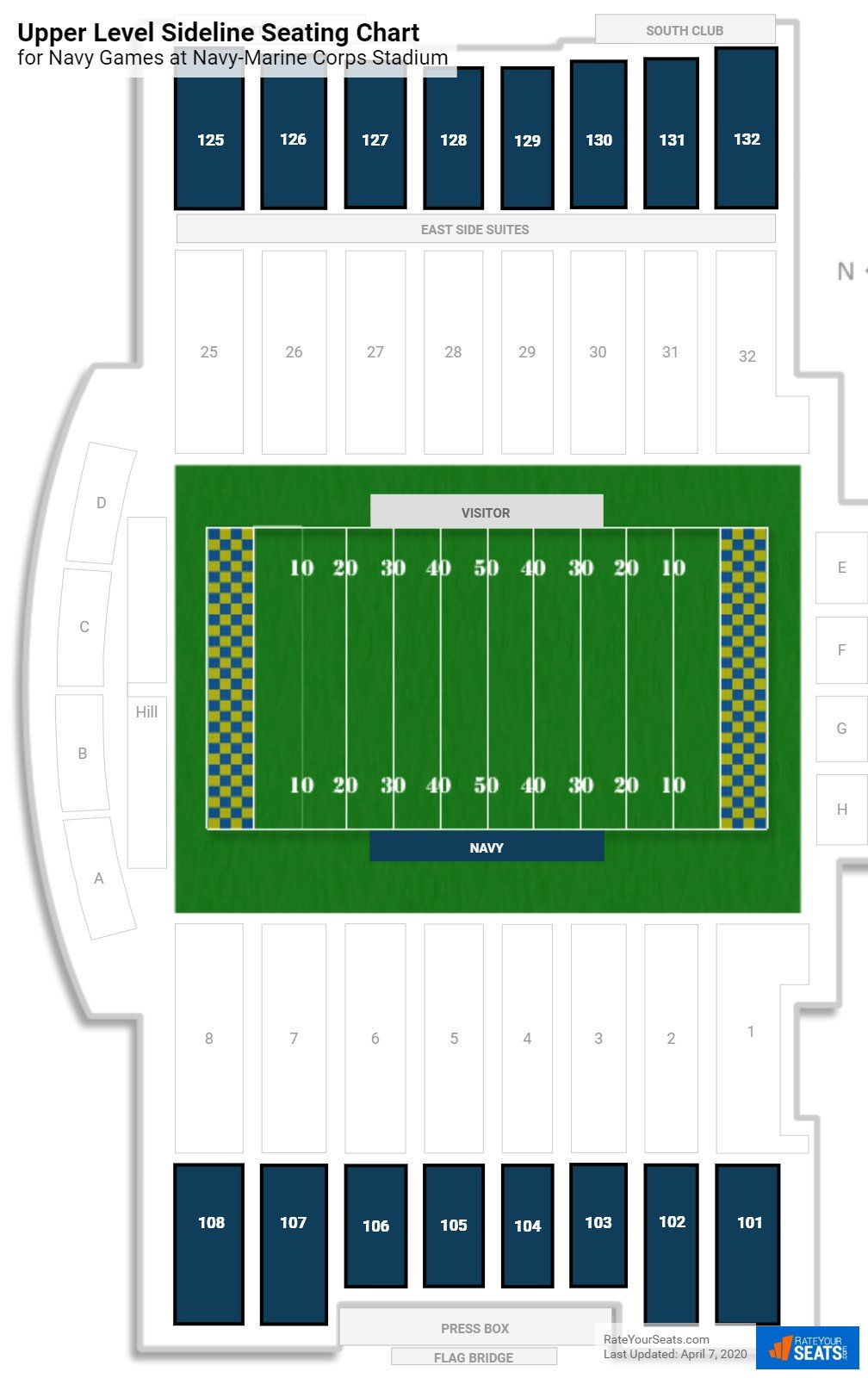 Navy-Marine Corps Stadium Upper Level Sideline seating chart