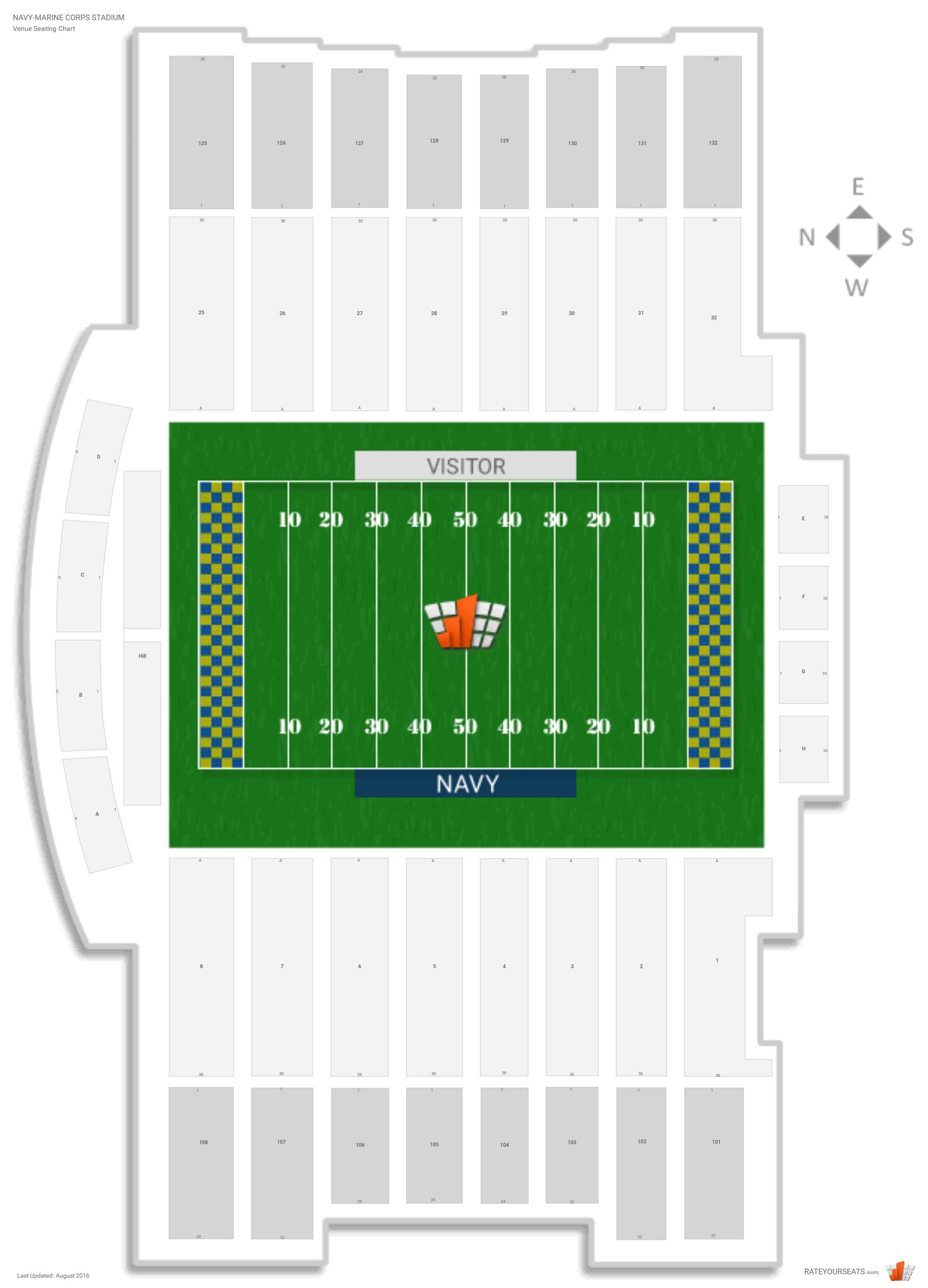 Navy Marine Corps Stadium Seating Chart With Row Numbers