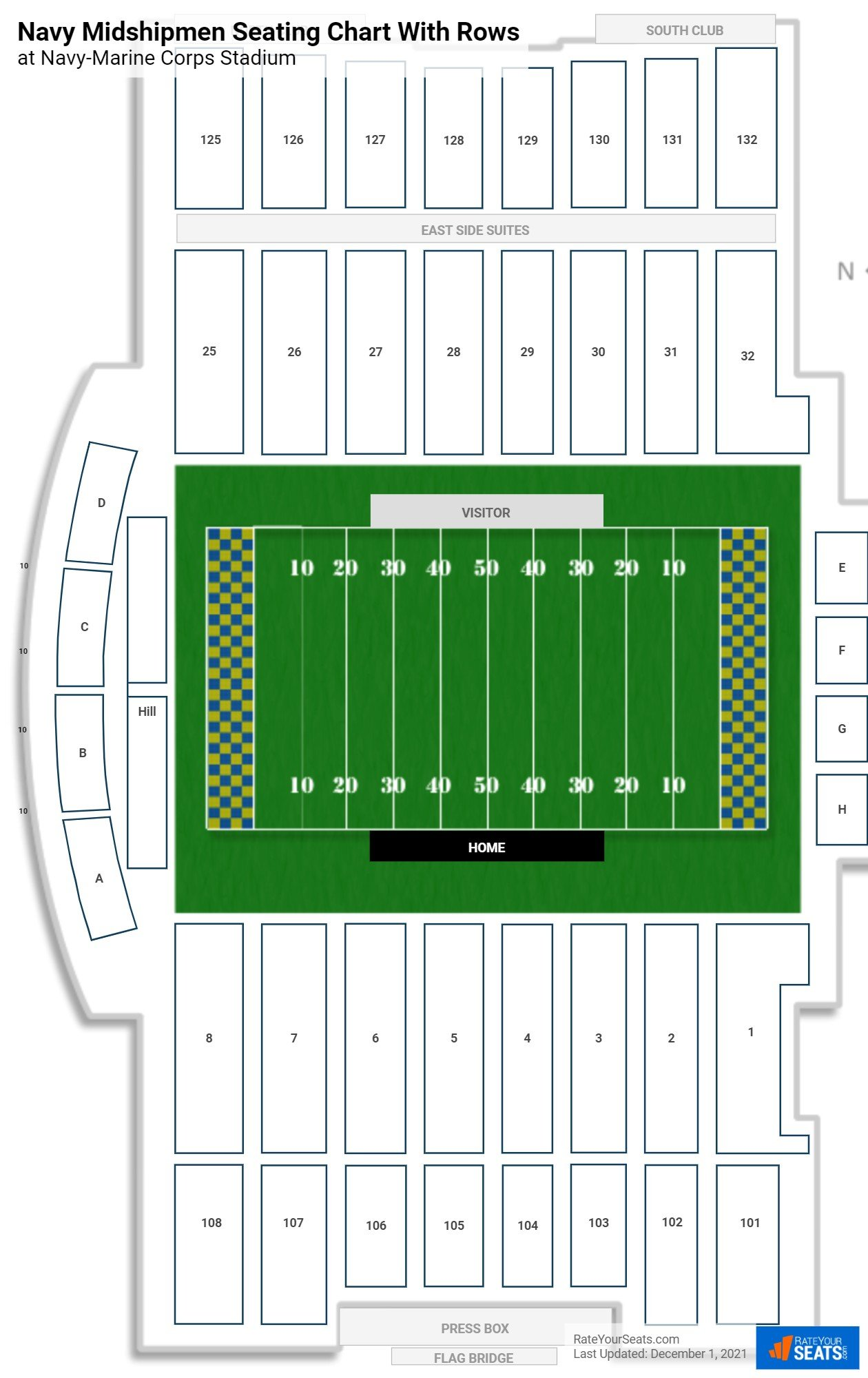Navy-Marine Corps Stadium seating chart with rows