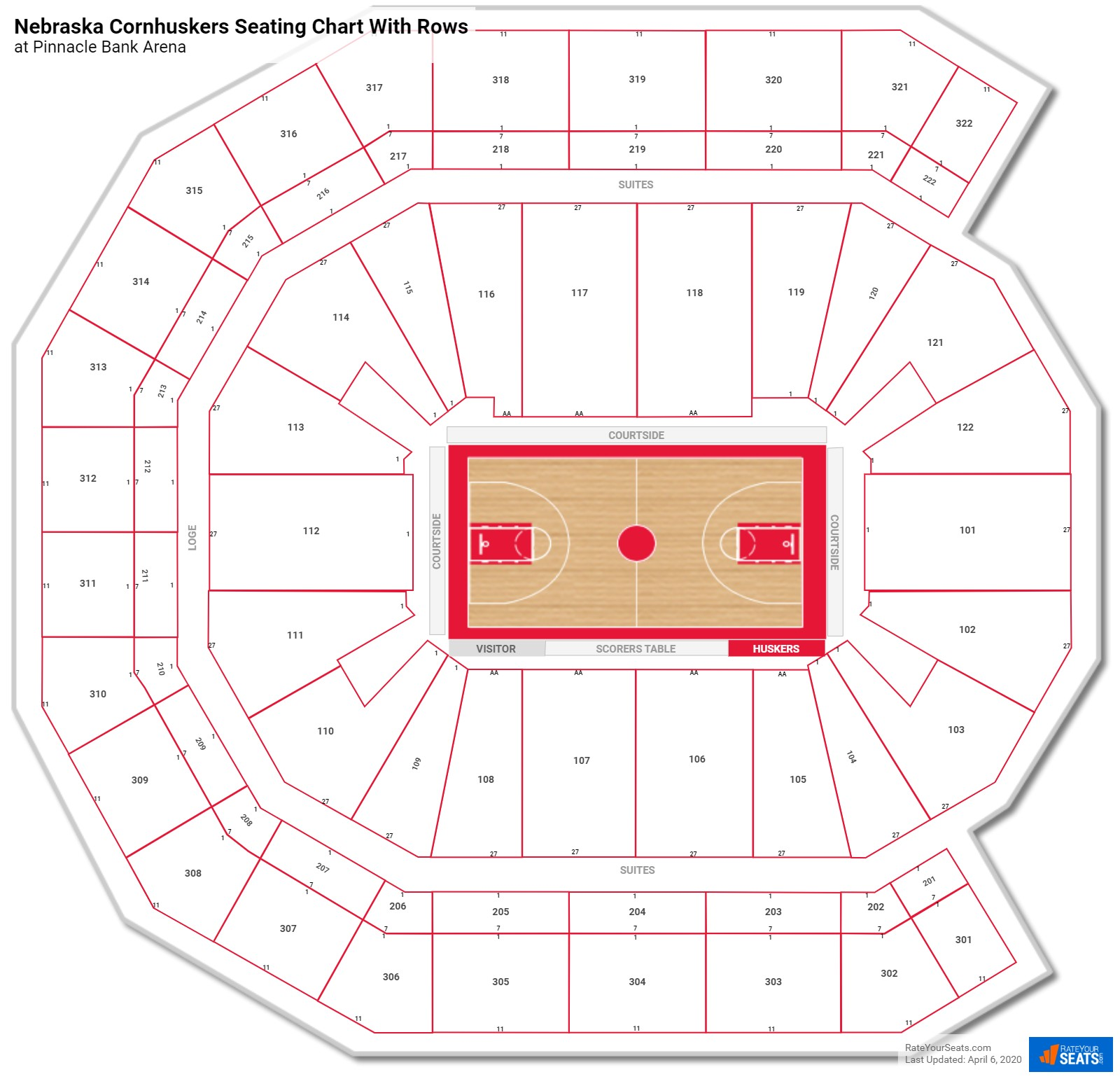 Pinnacle Bank Arena seating chart with rows basketball