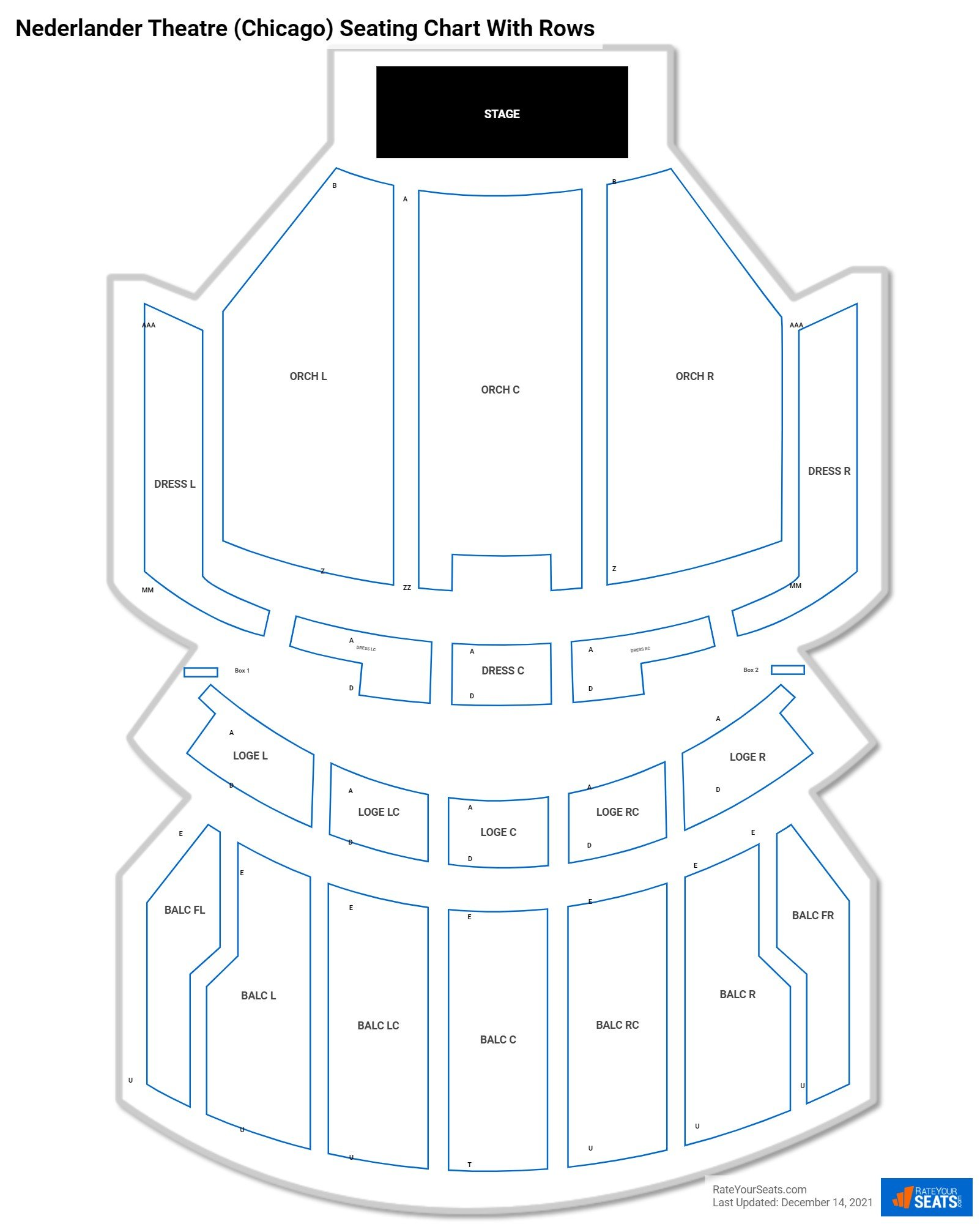 Nederlander Theatre seating chart with rows