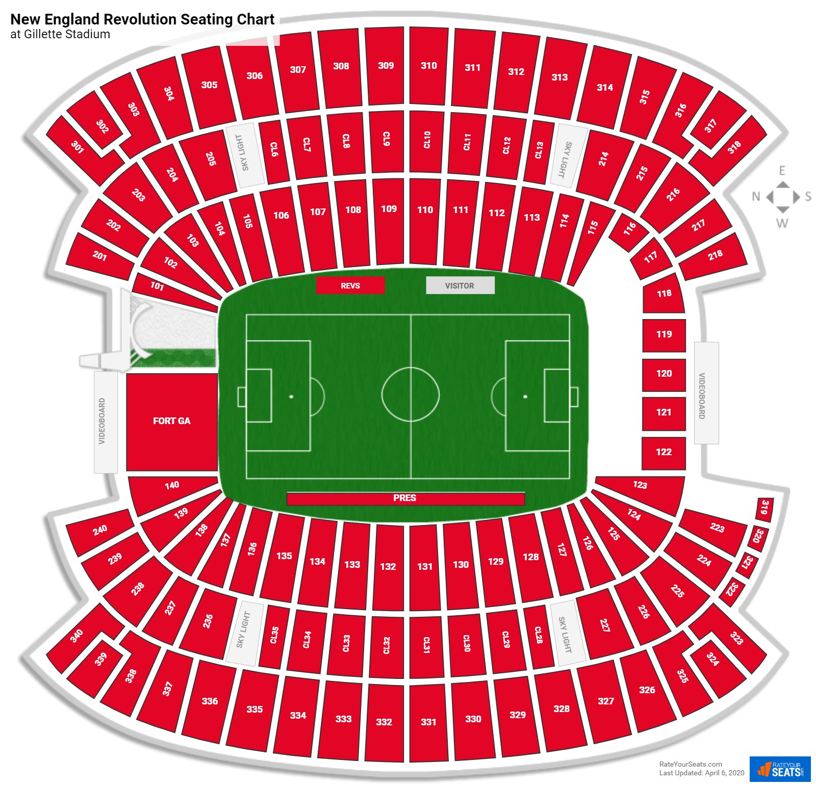 New England Revolution Seating Charts At Gillette Stadium Rateyourseats Com