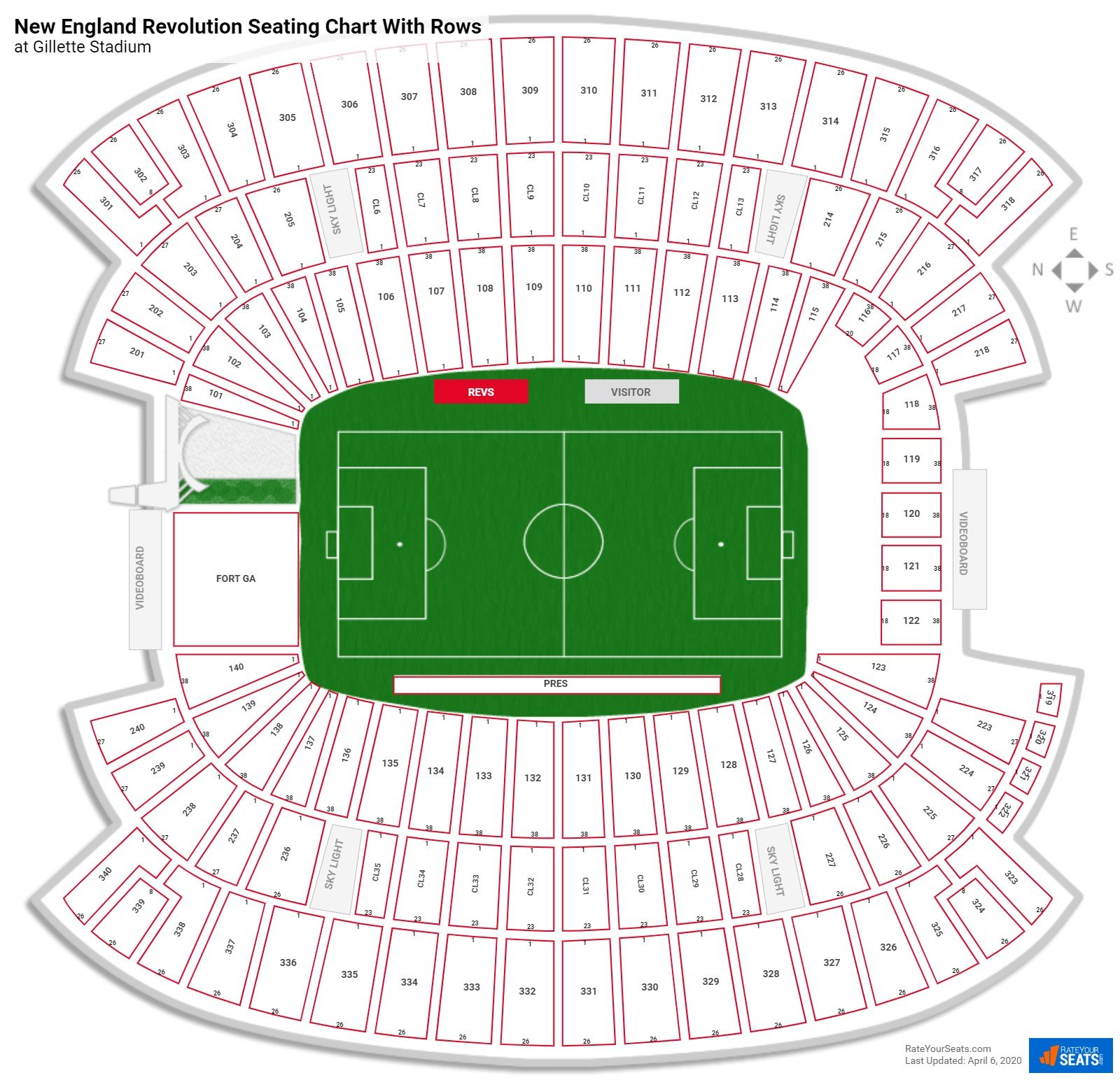 Gillette Stadium seating chart with rows soccer