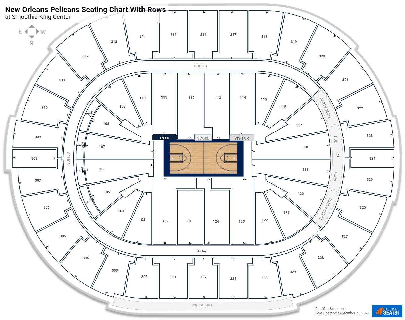 Smoothie King Center seating chart with rows basketball