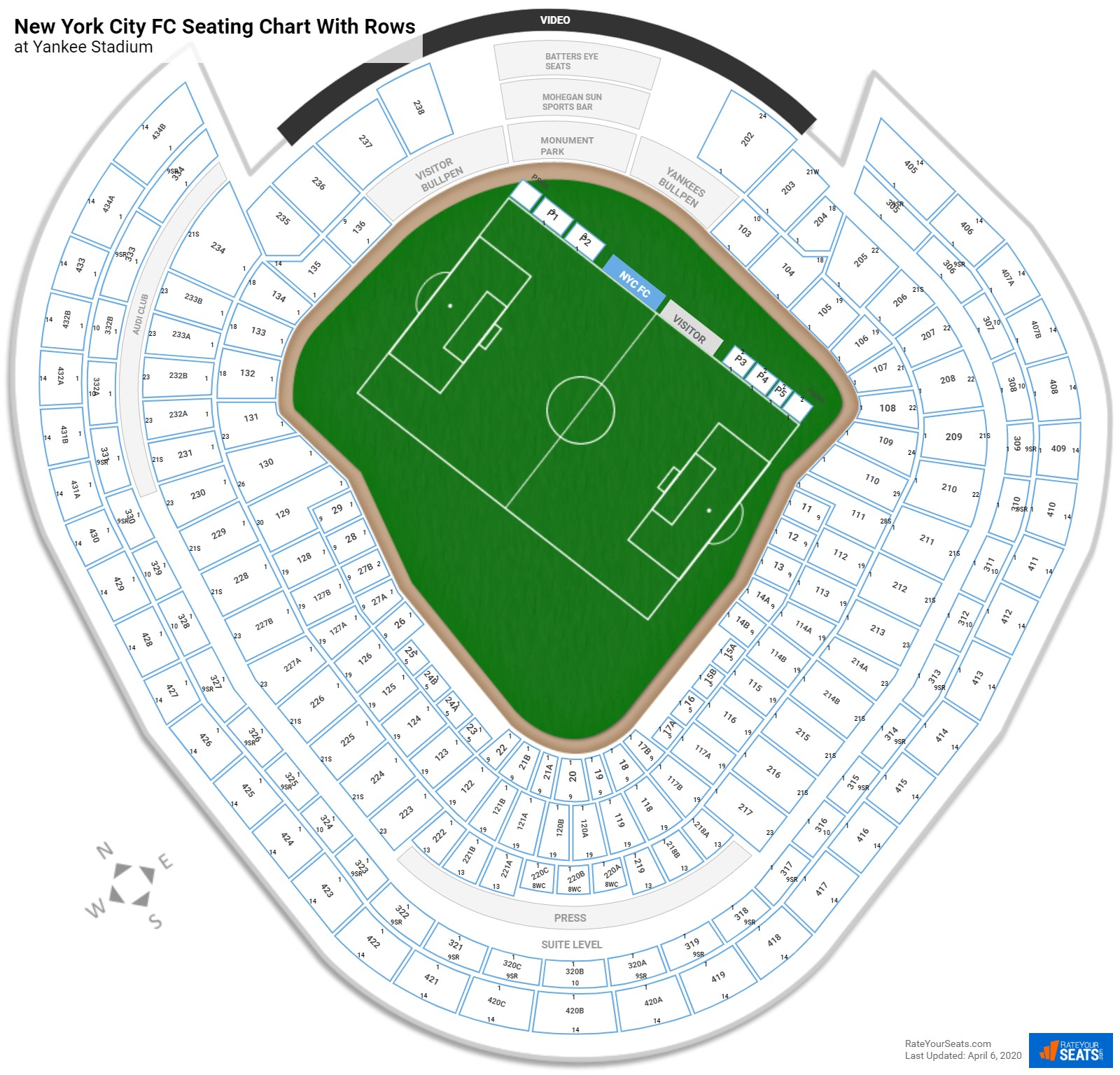 Yankee Stadium seating chart with rows soccer