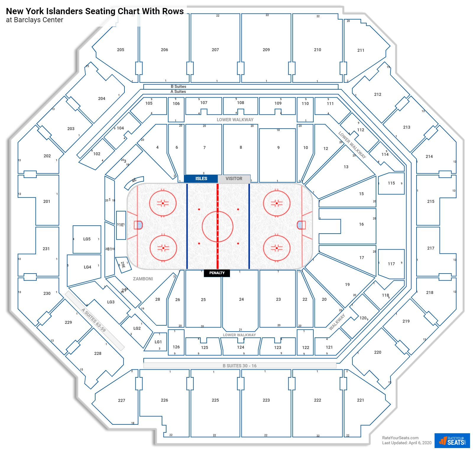 Barclays Center seating chart with rows hockey