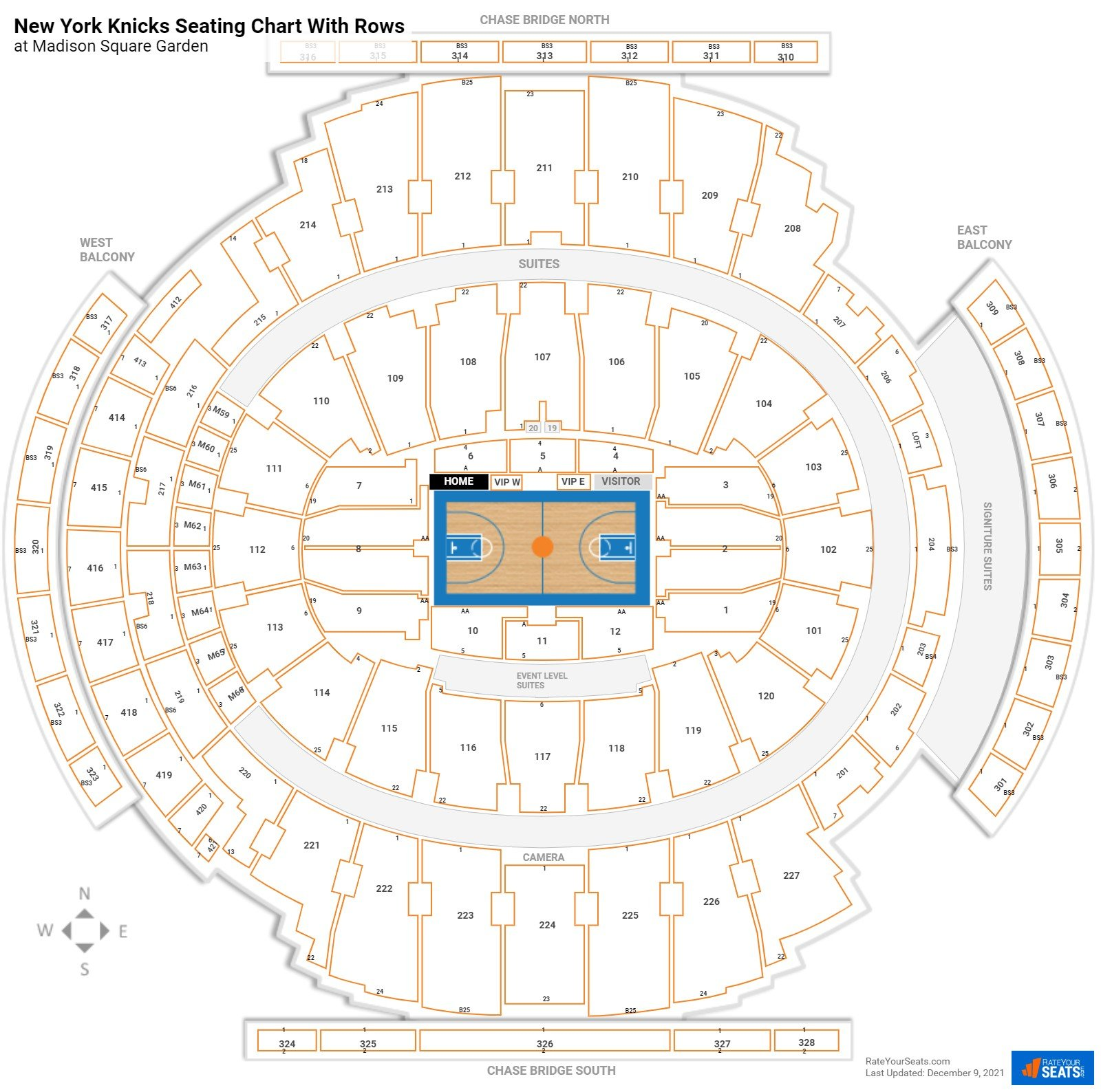 Madison Square Garden seating chart with rows basketball
