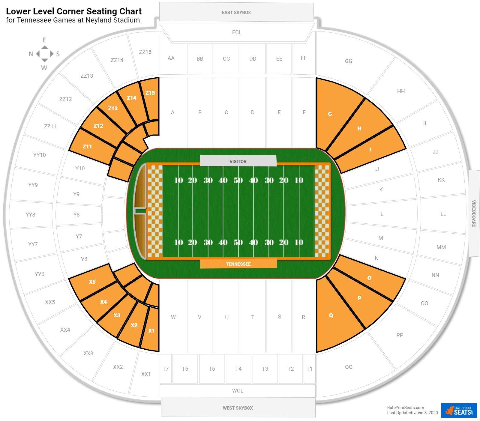 Lower Level Corner Neyland Stadium Football Seating