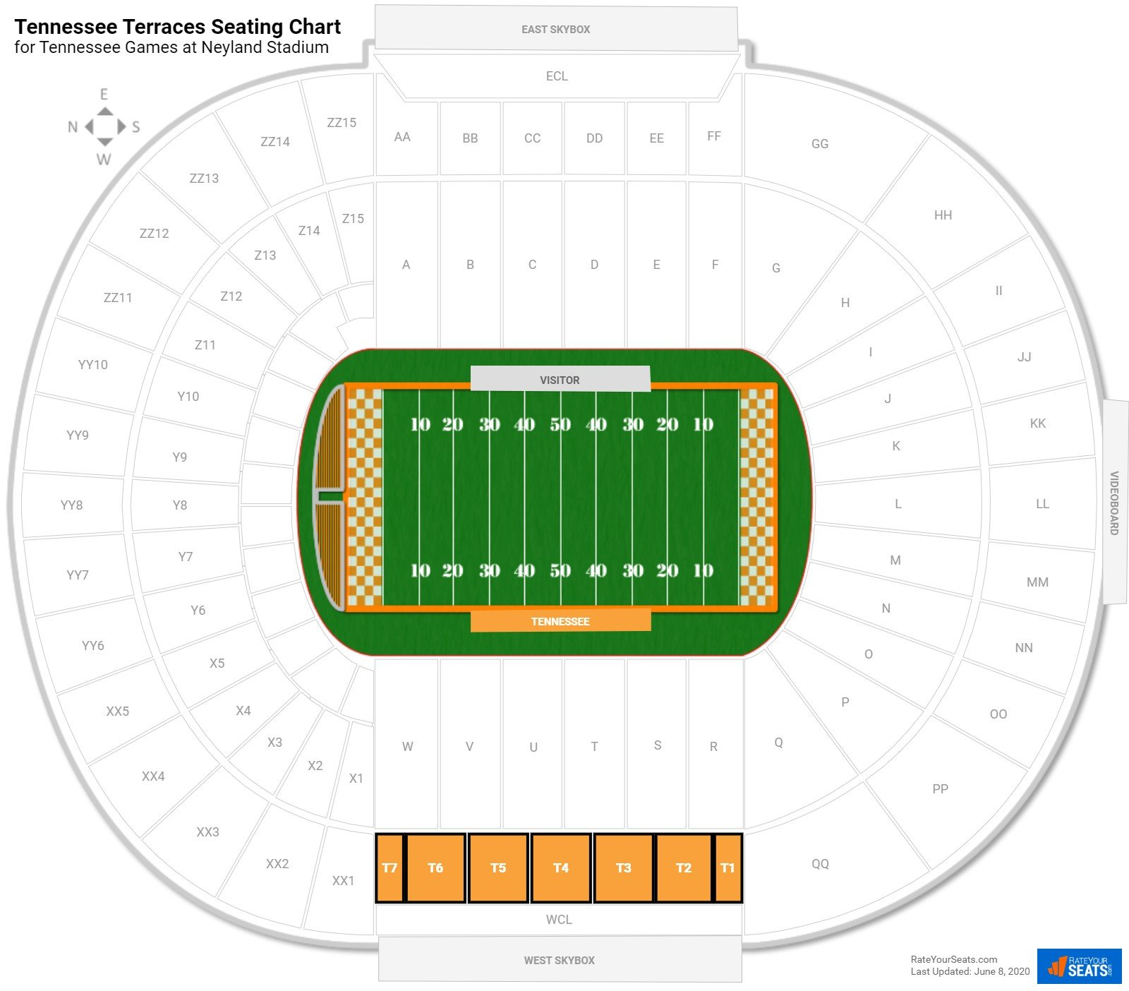 Neyland Stadium Tennessee Terraces seating chart