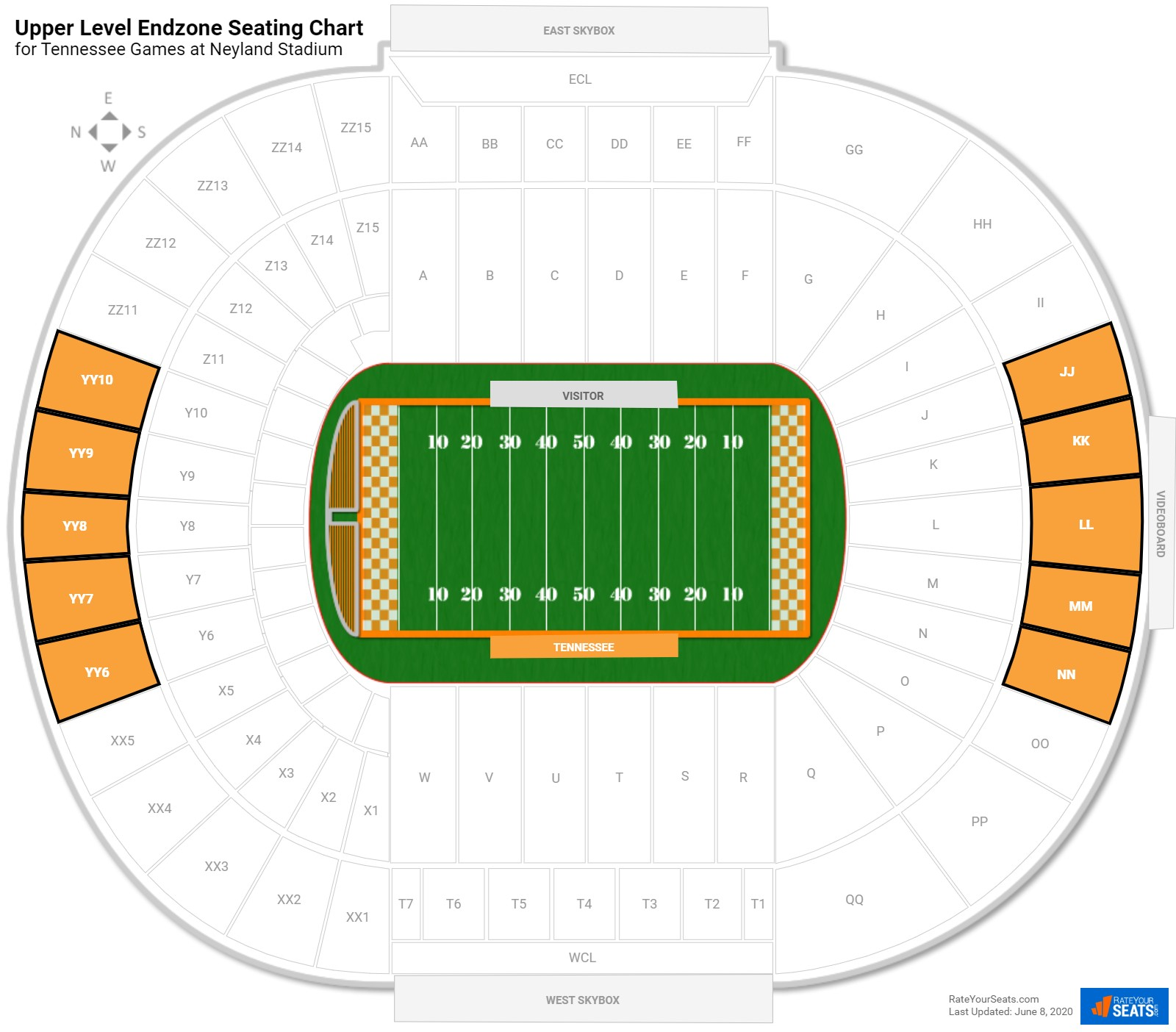 Neyland Stadium Upper Level Endzone seating chart