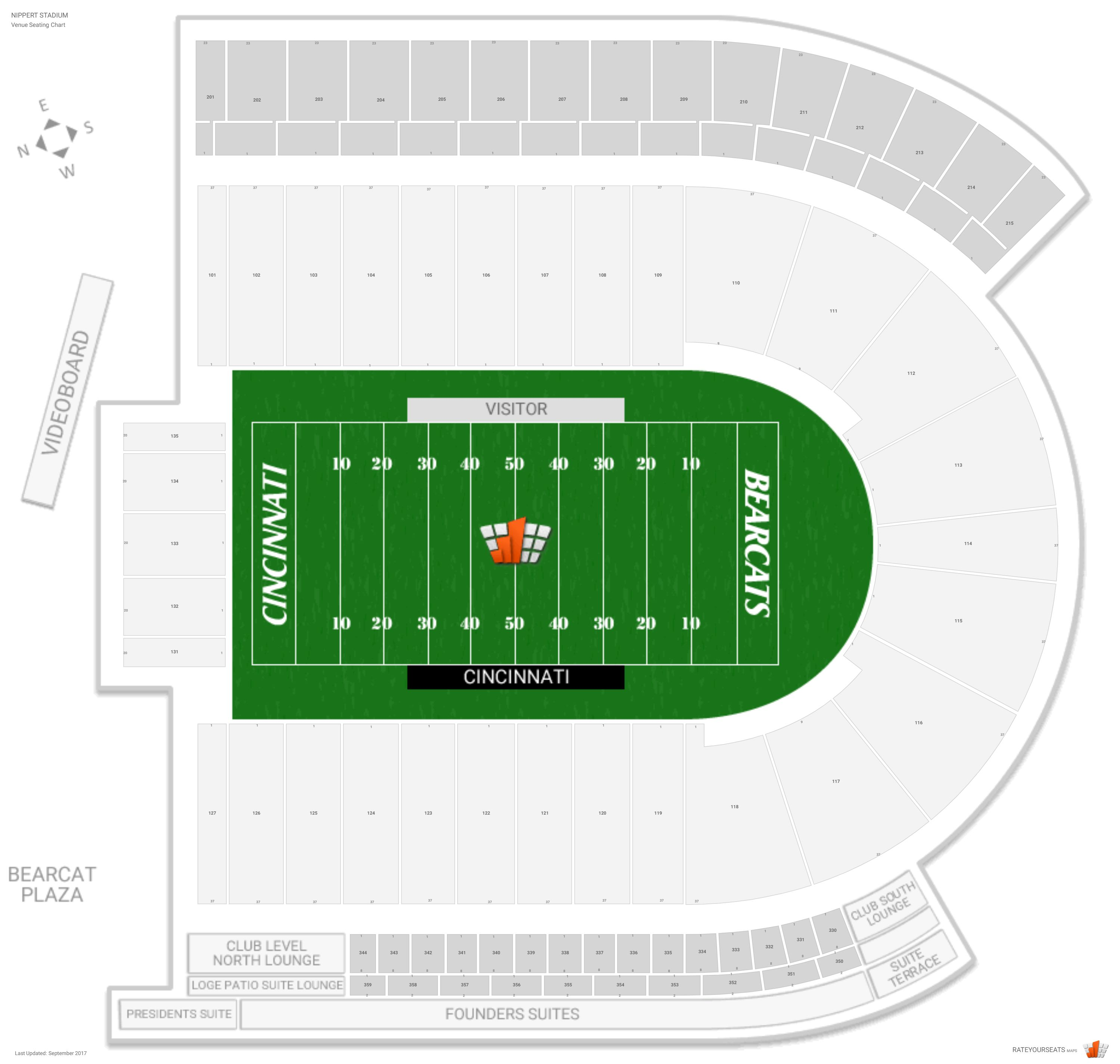Nippert Stadium Seating Chart With Row Numbers