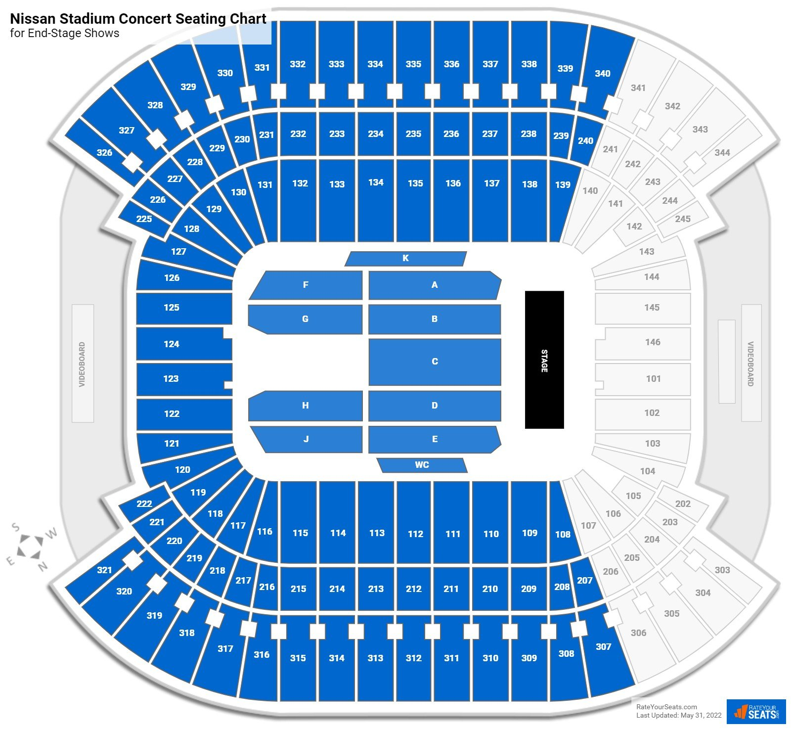 Nissan Stadium Seating Chart for Concerts