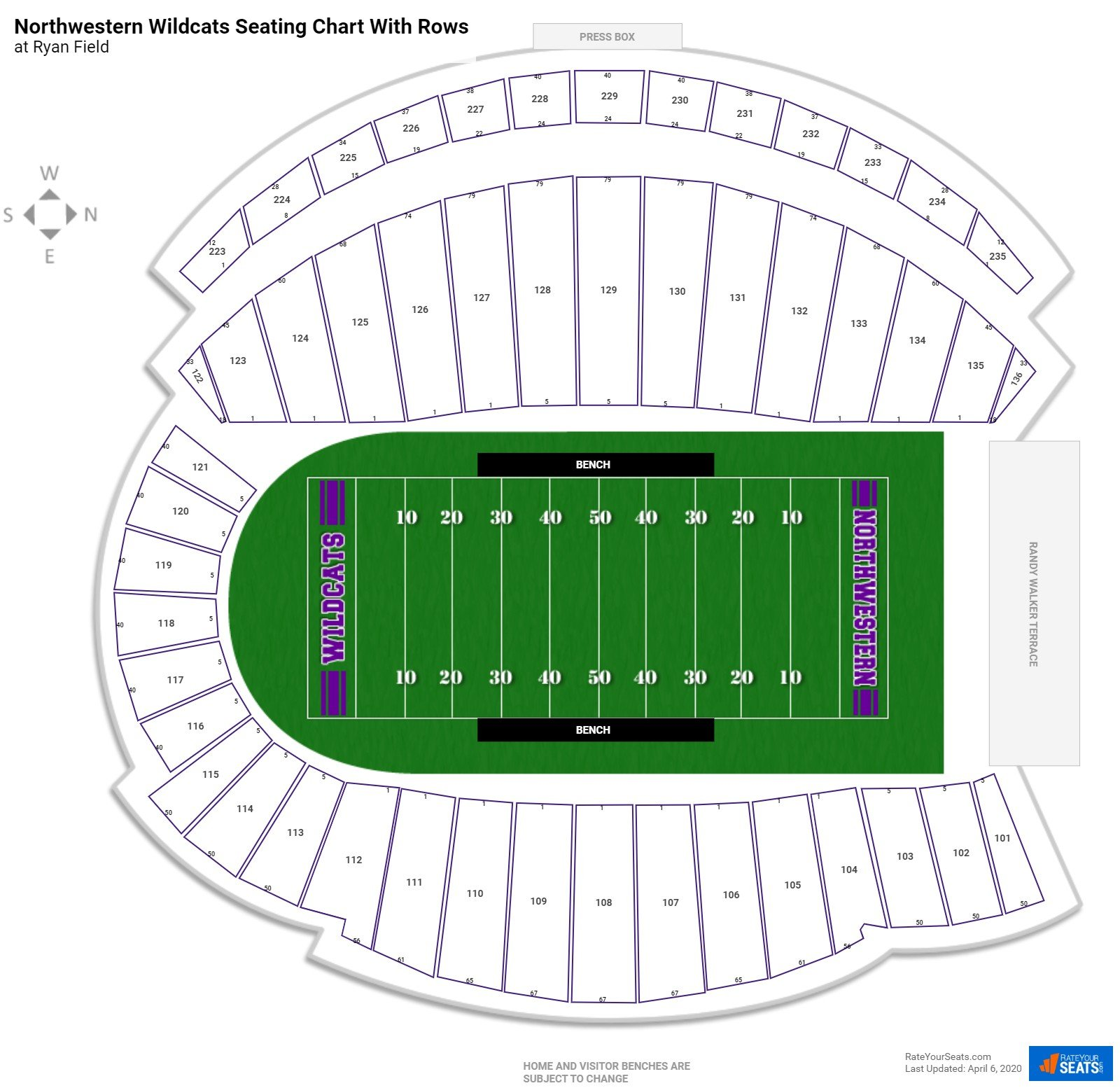 Ryan Field seating chart with rows