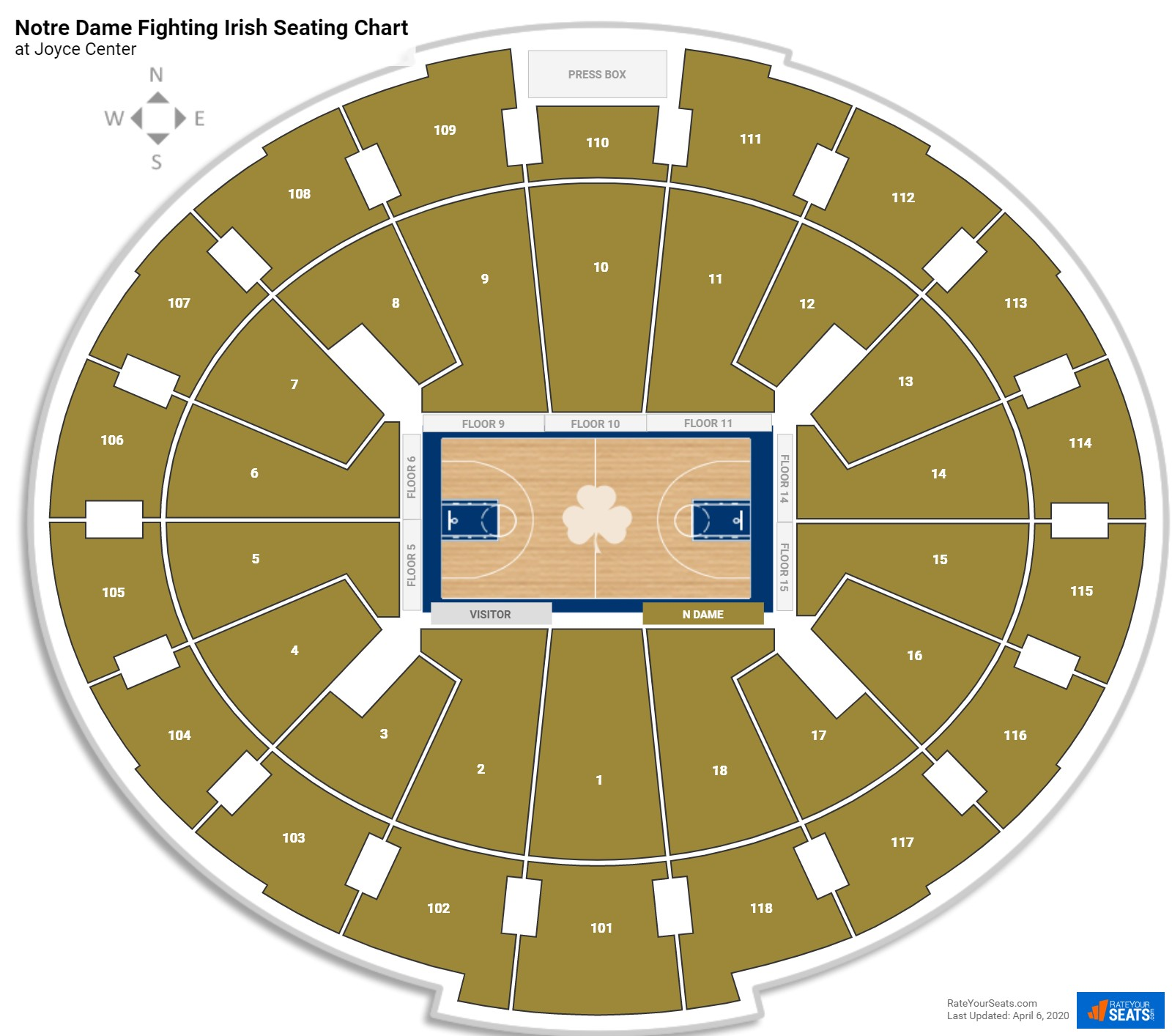 Notre Dame Basketball Seating Chart