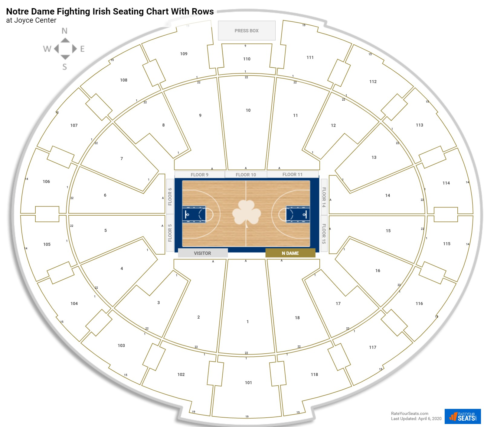 Joyce Center  seating chart with rows