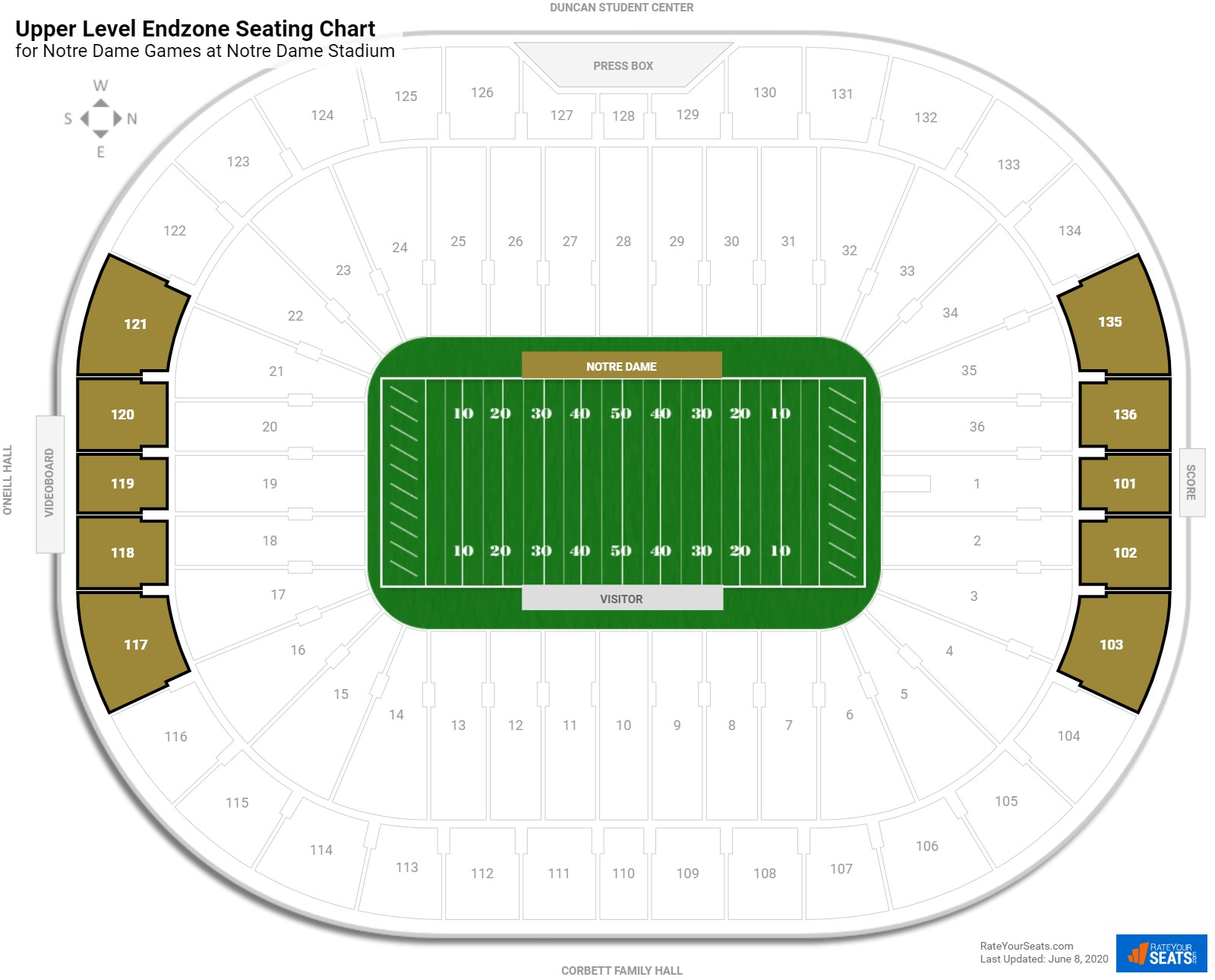 Notre Dame Stadium Upper Level Endzone seating chart
