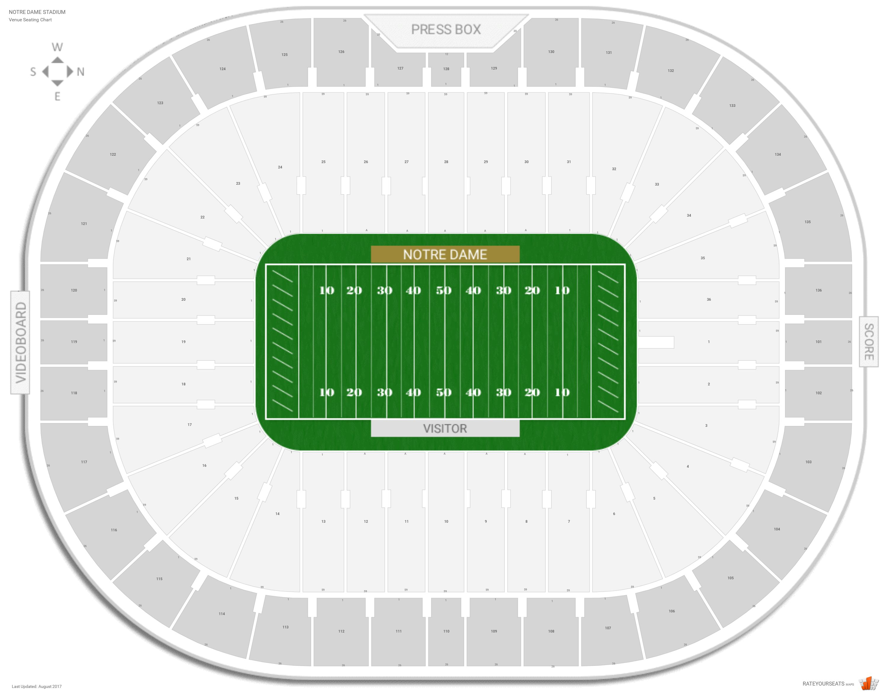Notre dame stadium notre dame seating guide rateyourseats com