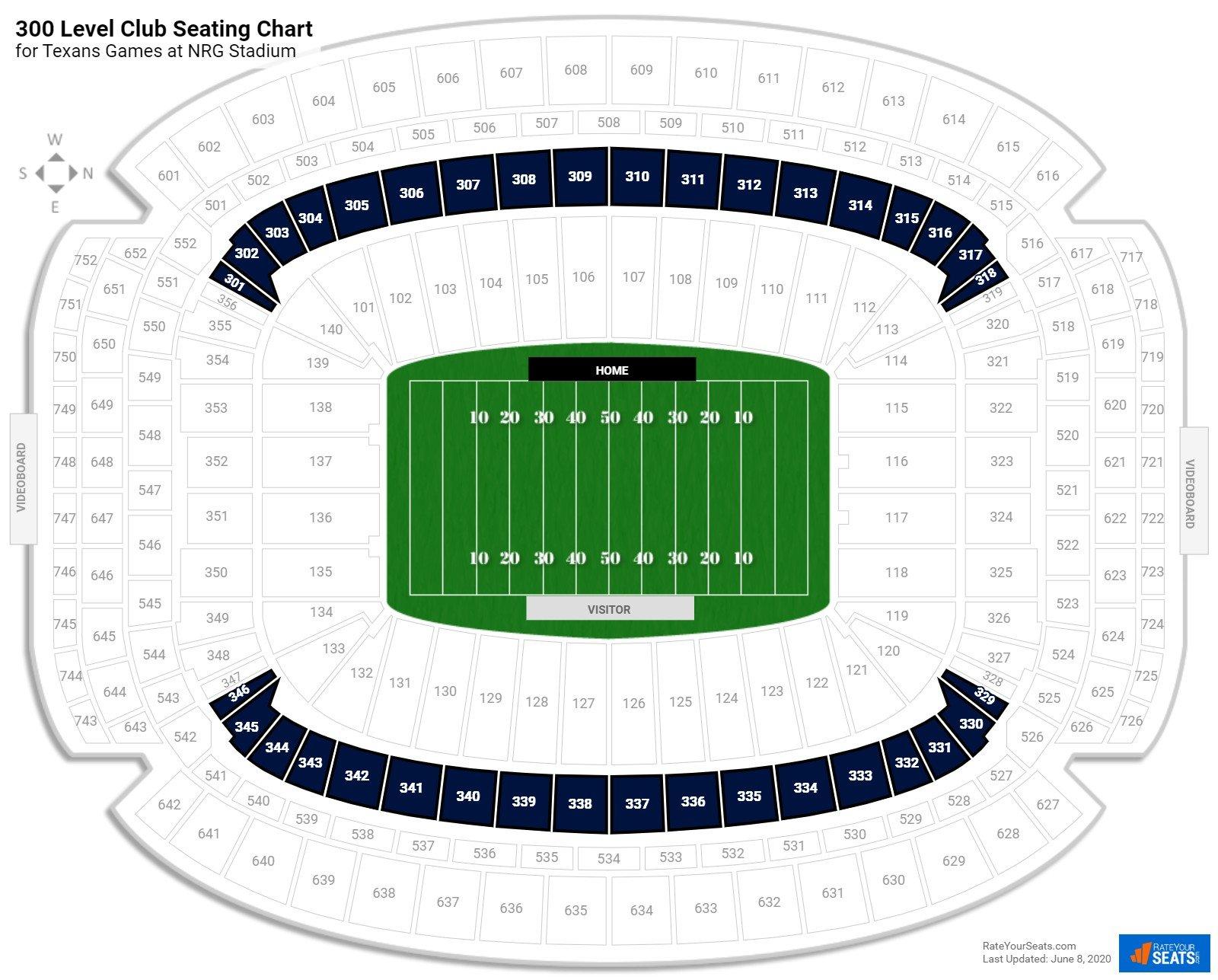 300 Level Club Nrg Stadium Football Seating