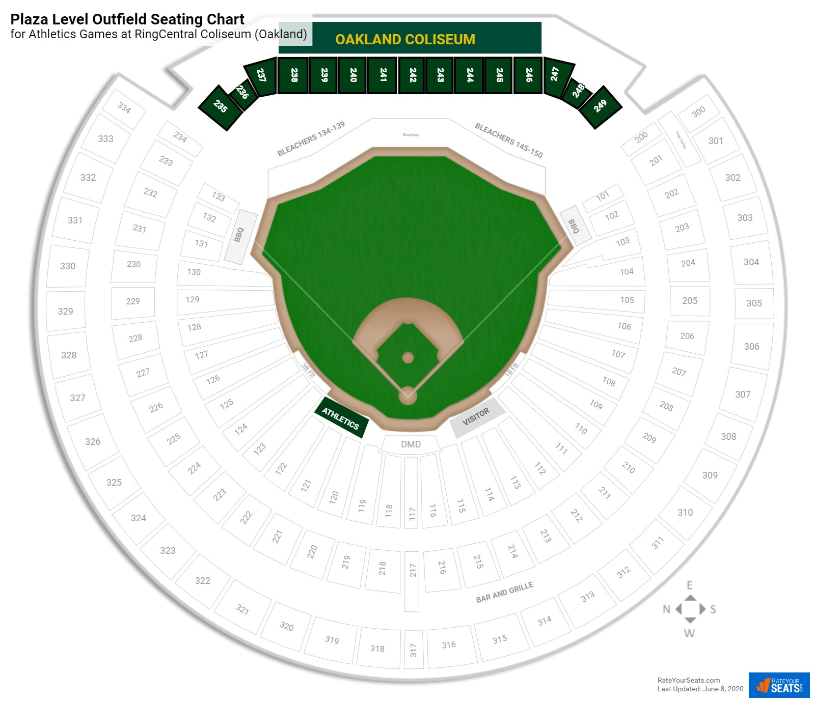 Oakland Coliseum Plaza Level Outfield seating chart