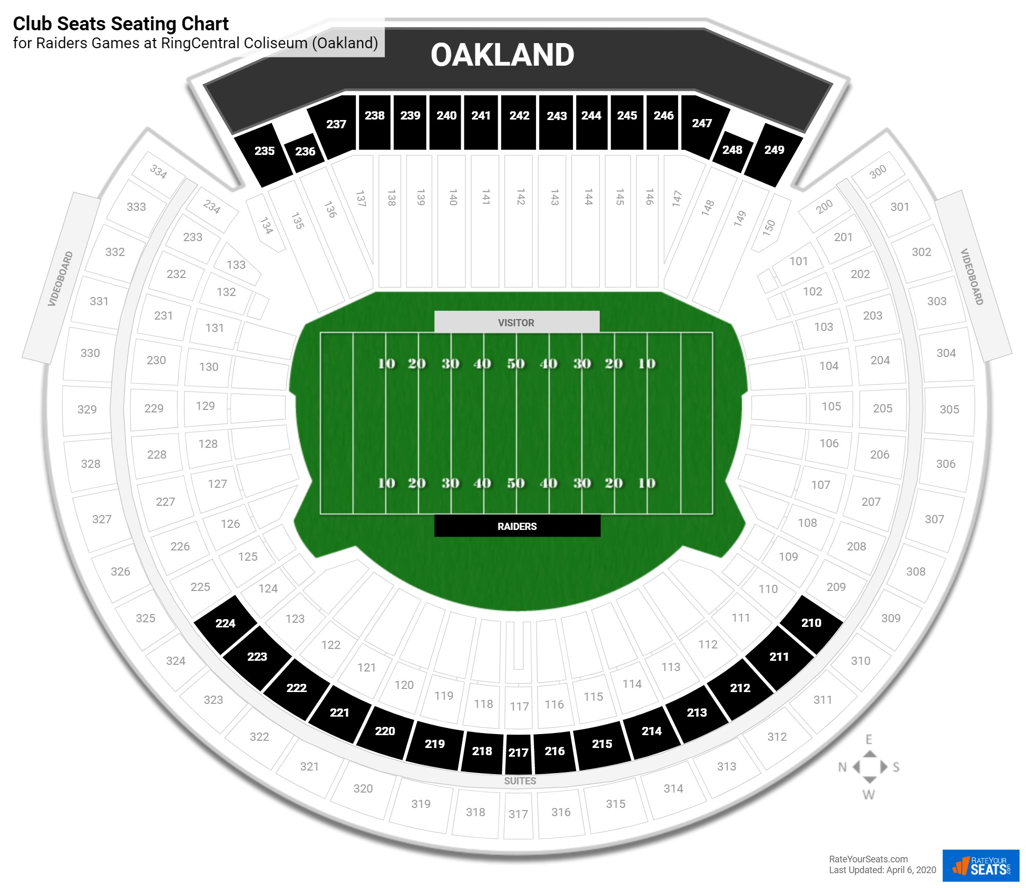 Oakland Coliseum Club Seats seating chart