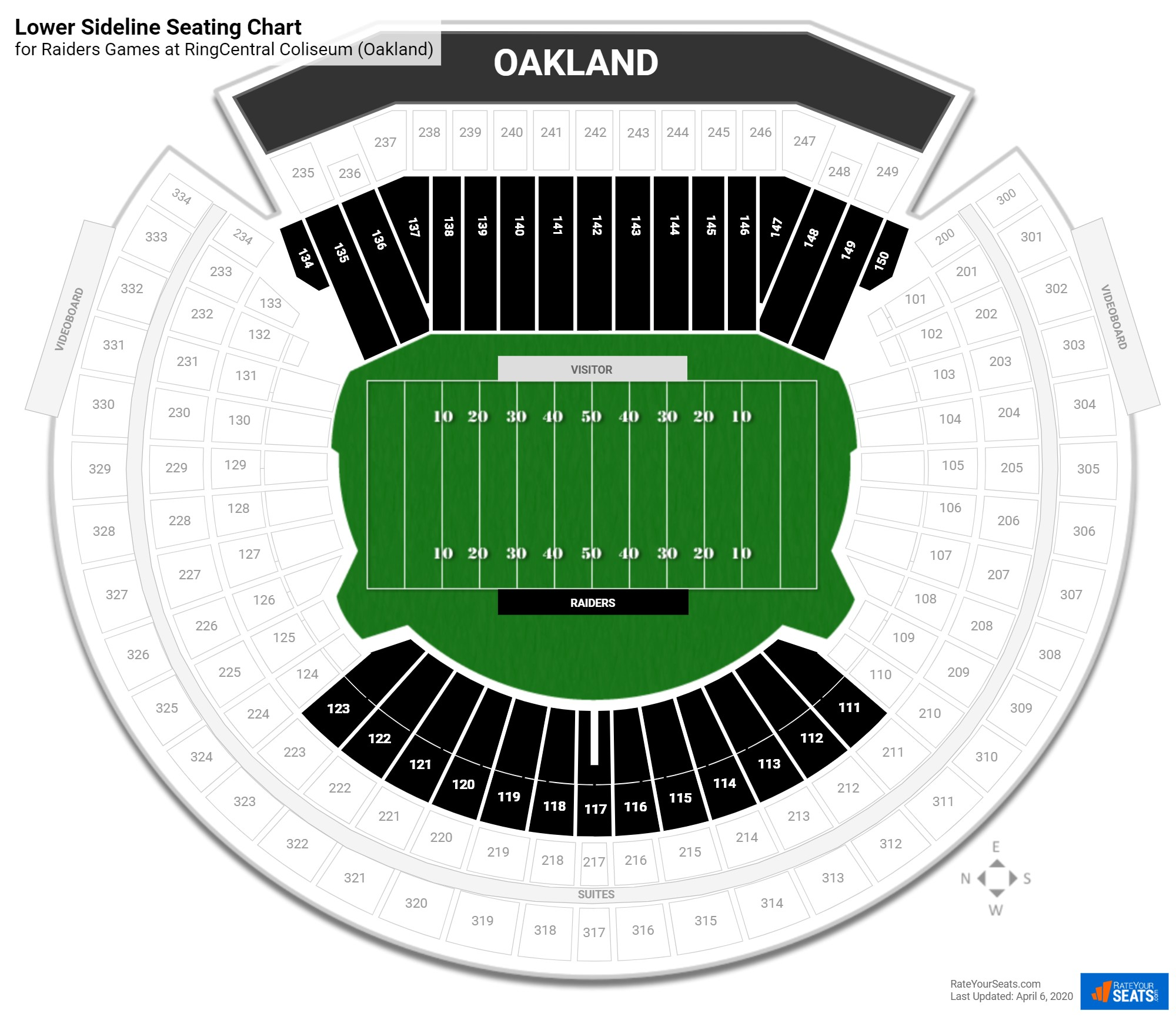 Oakland Coliseum Lower Sideline seating chart