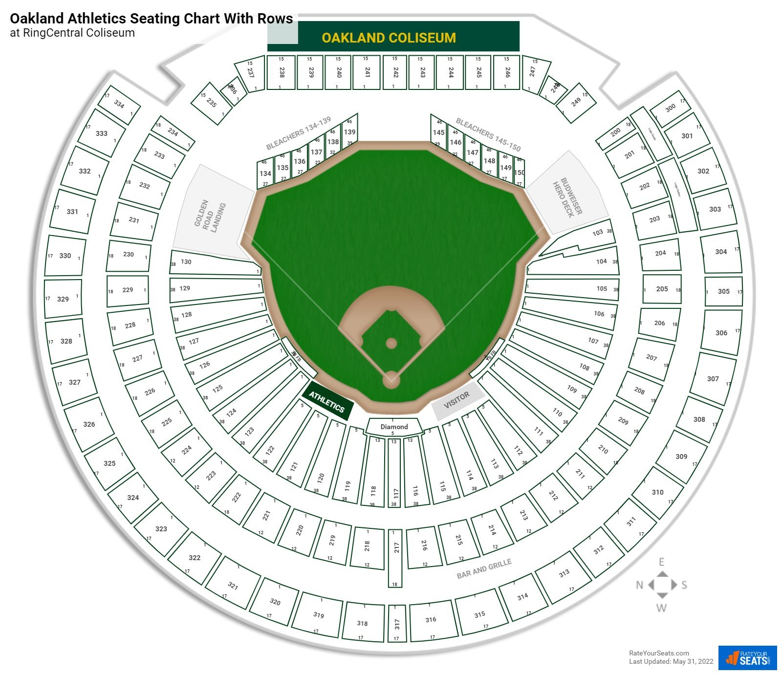 Oakland Athletics Seating Charts At Ringcentral Coliseum Rateyourseats Com