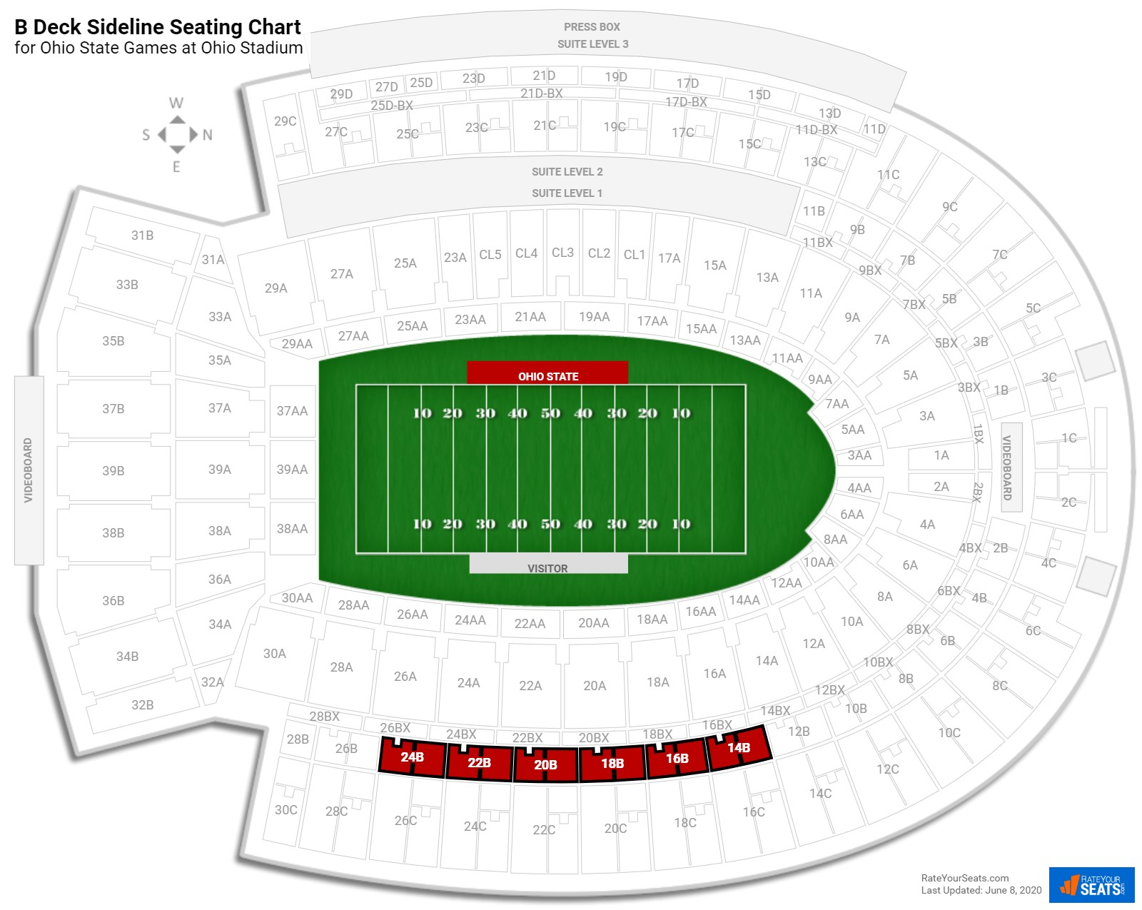 Ohio Stadium B Deck Sideline seating chart