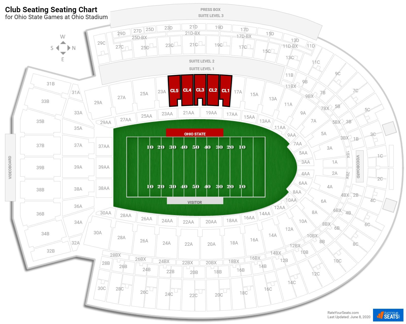 Ohio Stadium Club Seating seating chart