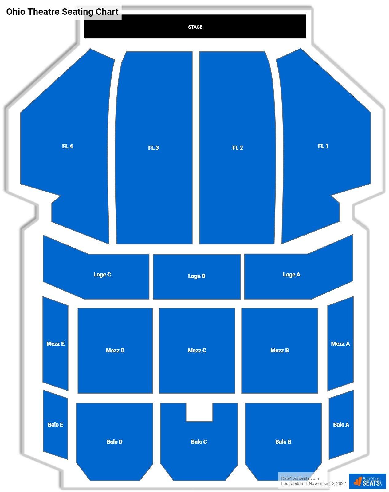 Ohio Theatre Seating Charts Rateyourseats Com