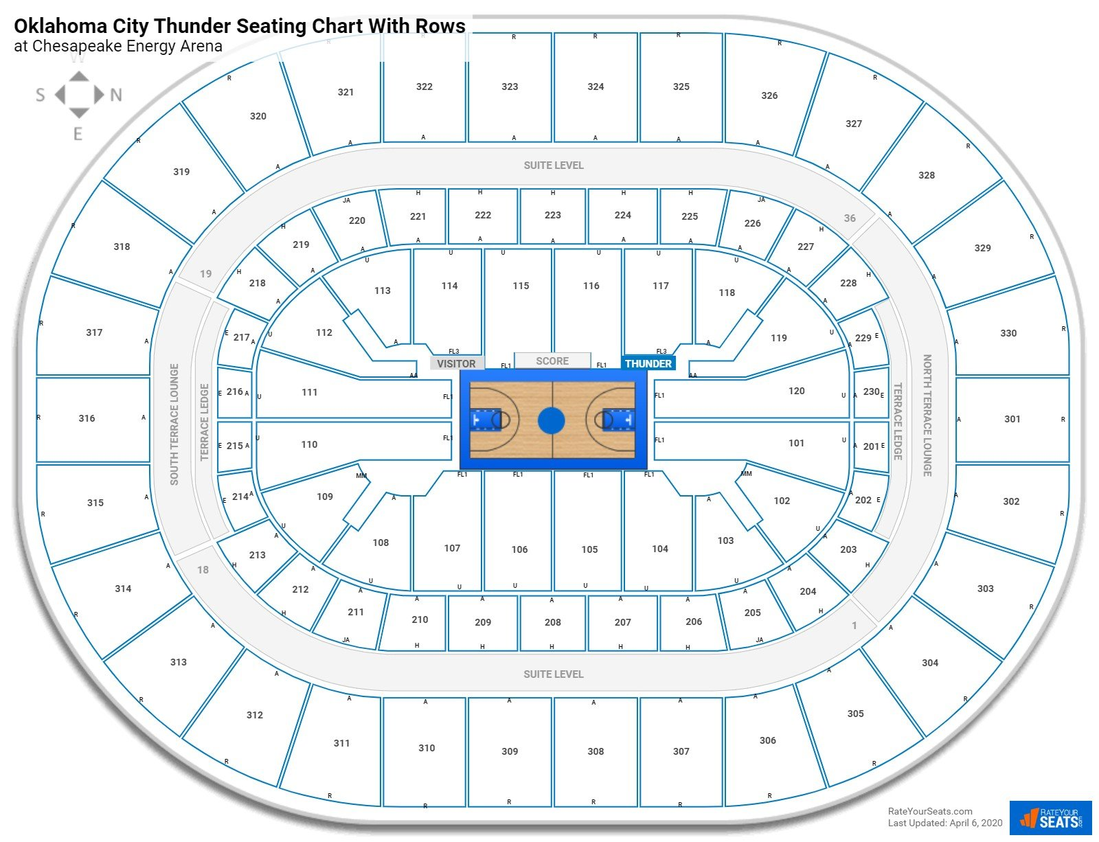 Chesapeake Energy Arena seating chart with rows basketball