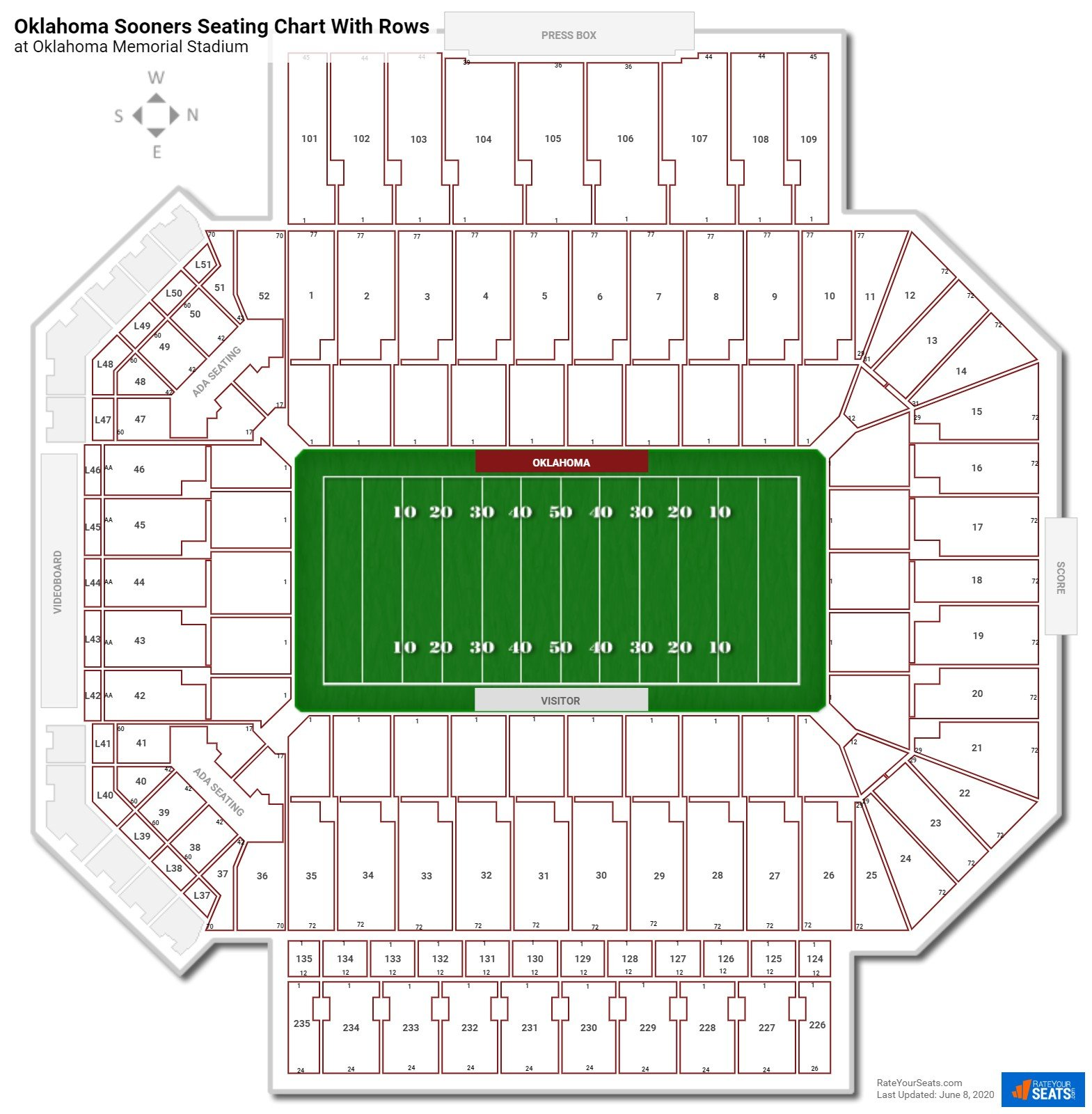Oklahoma Memorial Stadium Seating Charts Rateyourseats Com