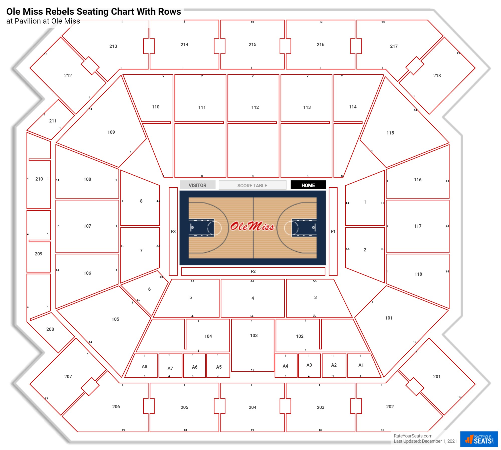 Pavilion at Ole Miss seating chart with rows