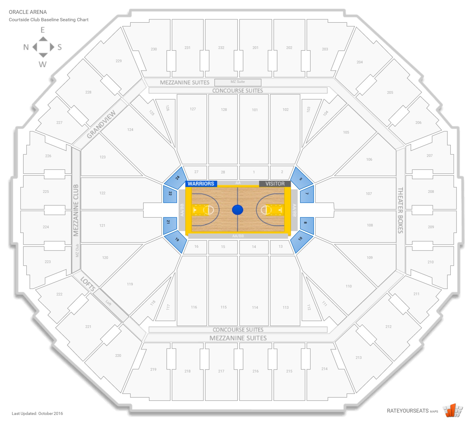 Oracle Arena Courtside Club Baseline seating chart