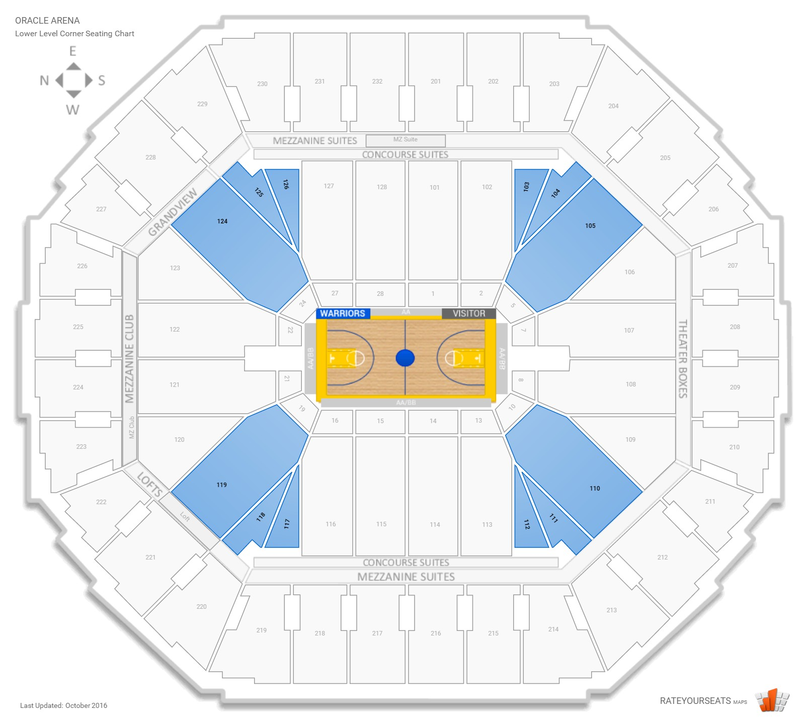 Oracle Arena Lower Level Corner seating chart