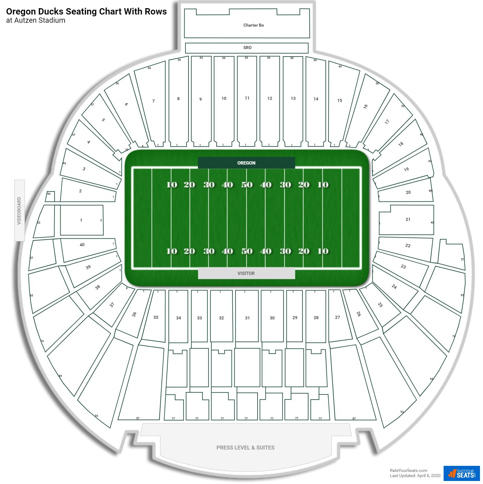 Autzen Stadium seating chart with rows