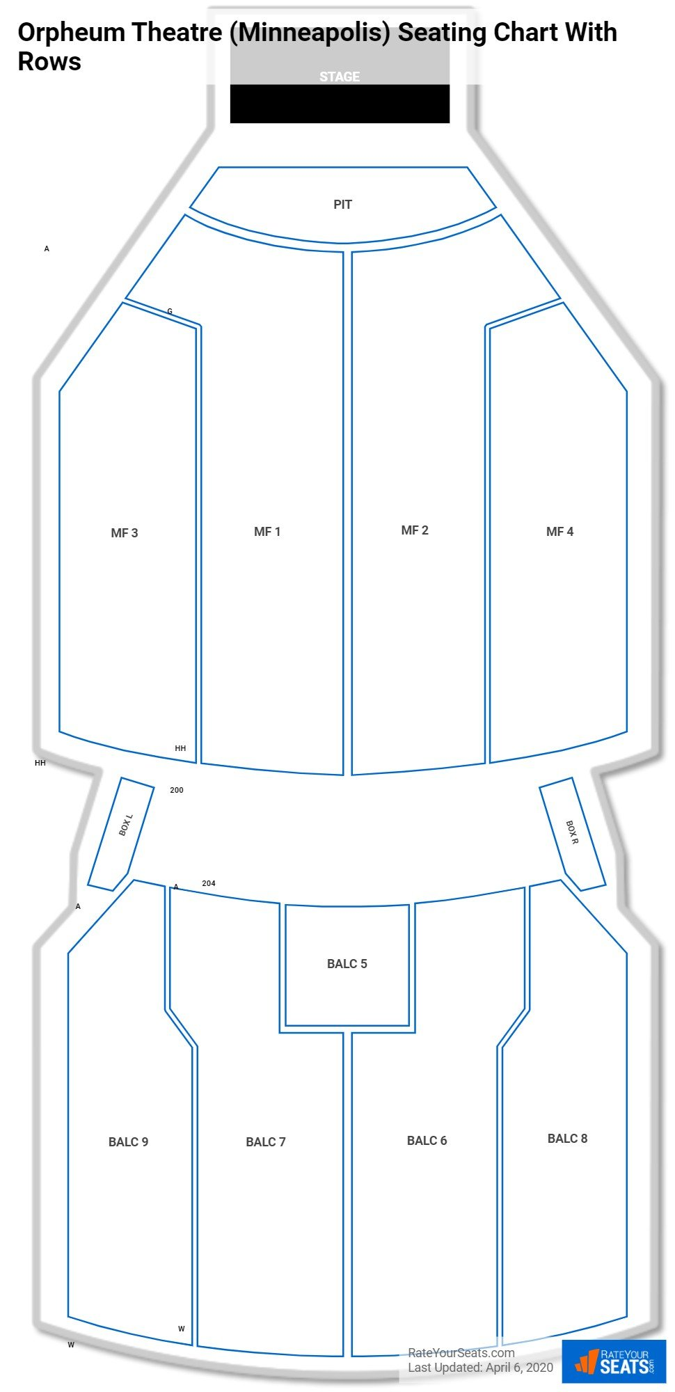 Orpheum Theatre (Minneapolis) seating chart with rows