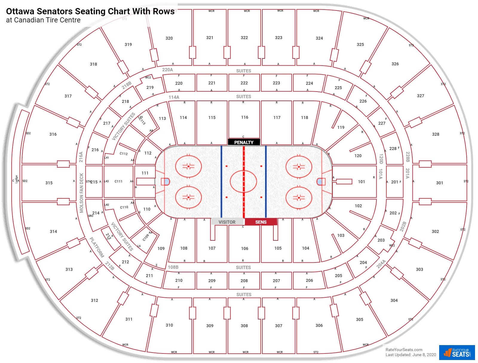 Canadian Tire Centre seating chart with rows hockey